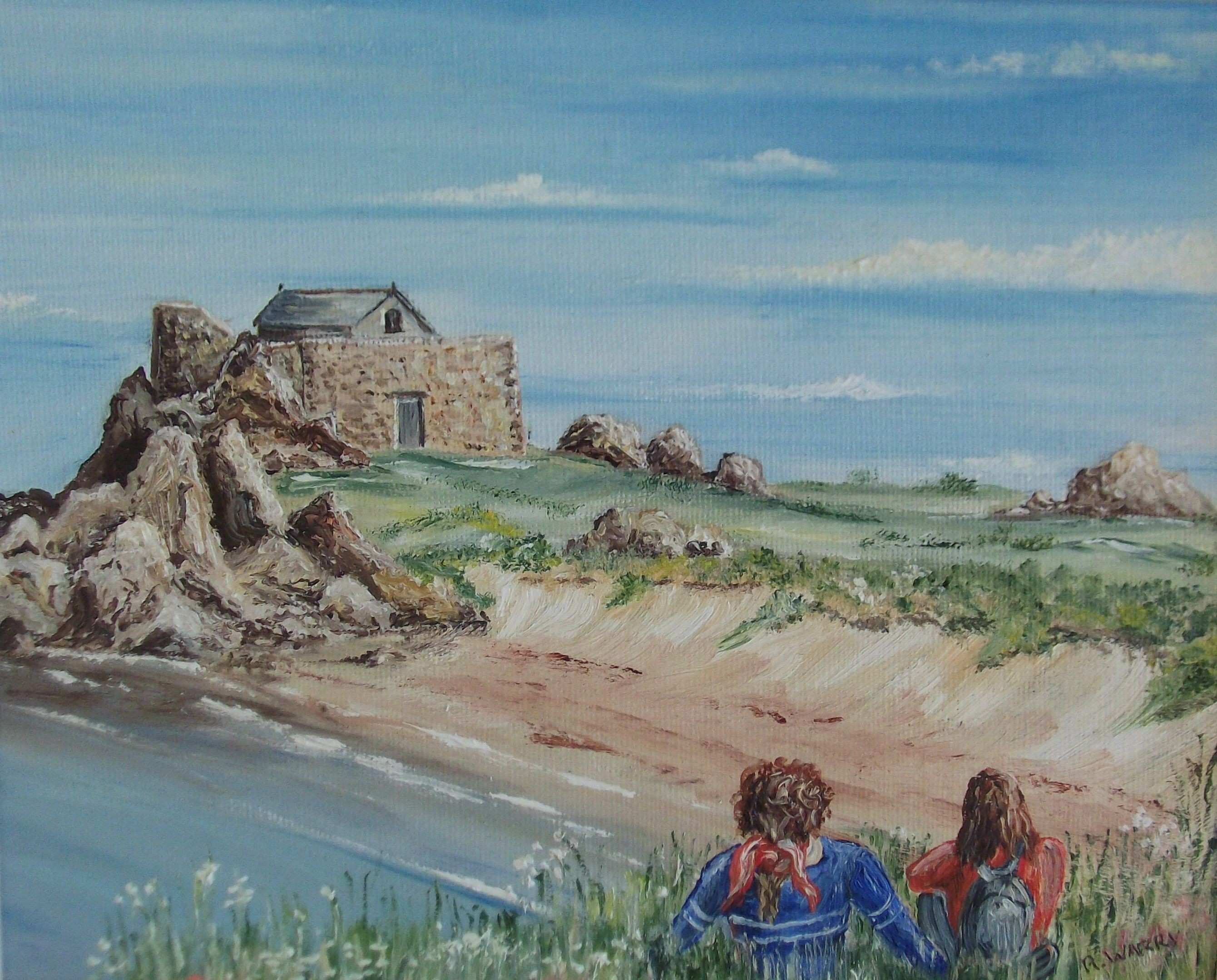Early Evening Grande Rocque Oil on board by Bob Warry Guernsey