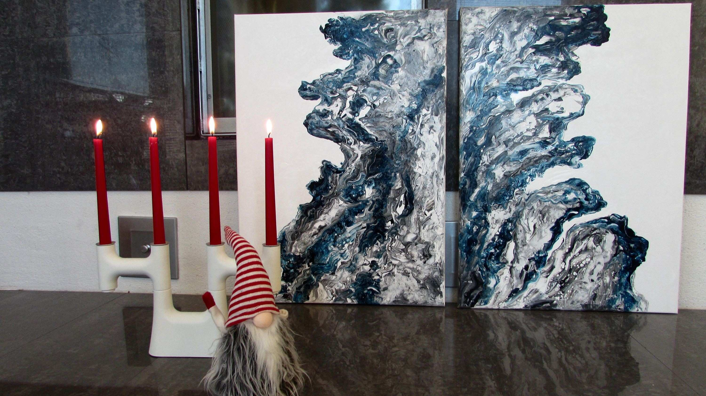 Aalto Waves Diptych 70x100cm Abstract painting Acrylic Modern