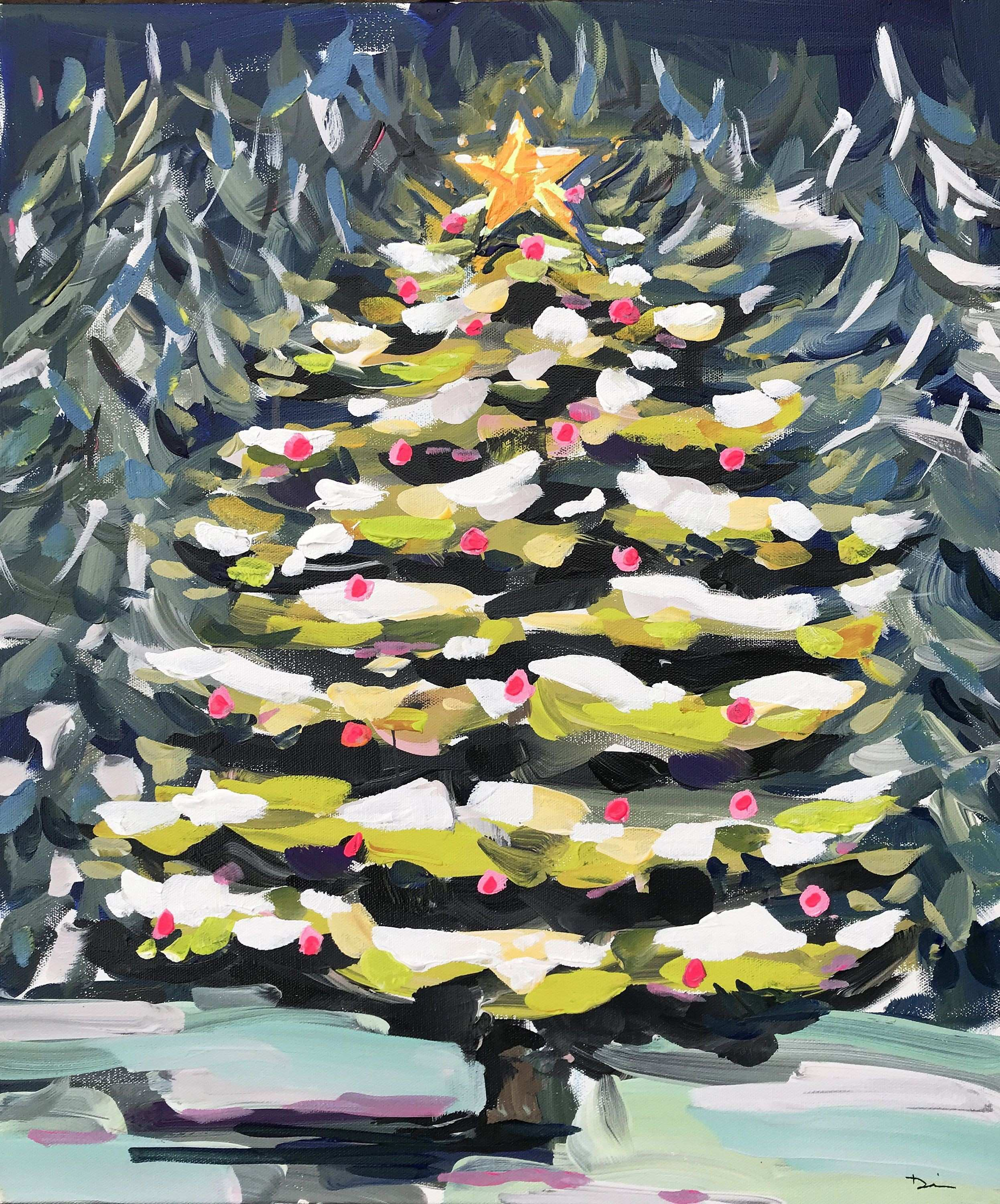 Paintings Trees Canvas Fresh Christmas Tree Painting Canvas