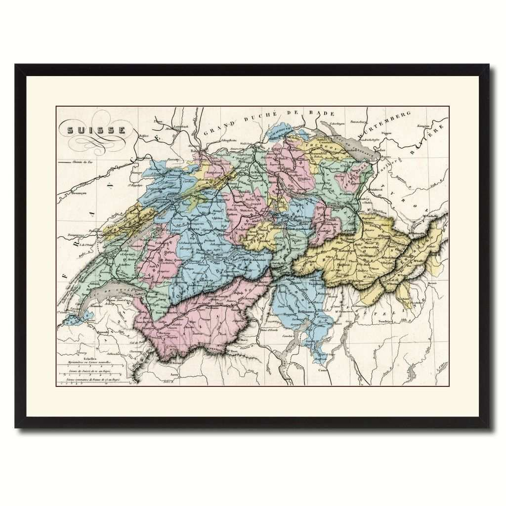 Panel Canvas Wall Art New Switzerland Vintage Antique Map Wall Art Home Decor Gift Ideas