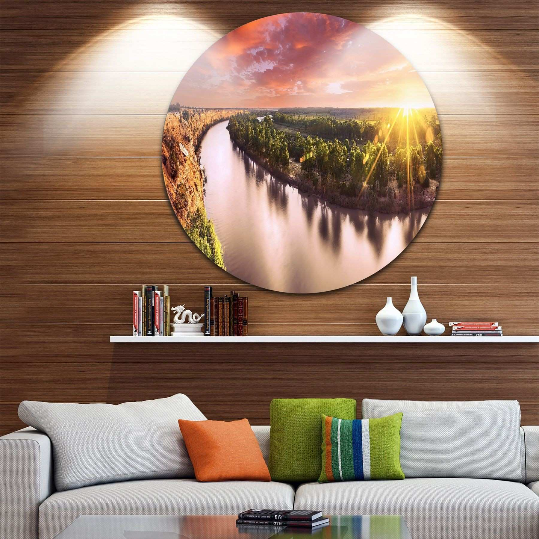 Designart Sunset over Murray River Panorama Round Metal Wall Art