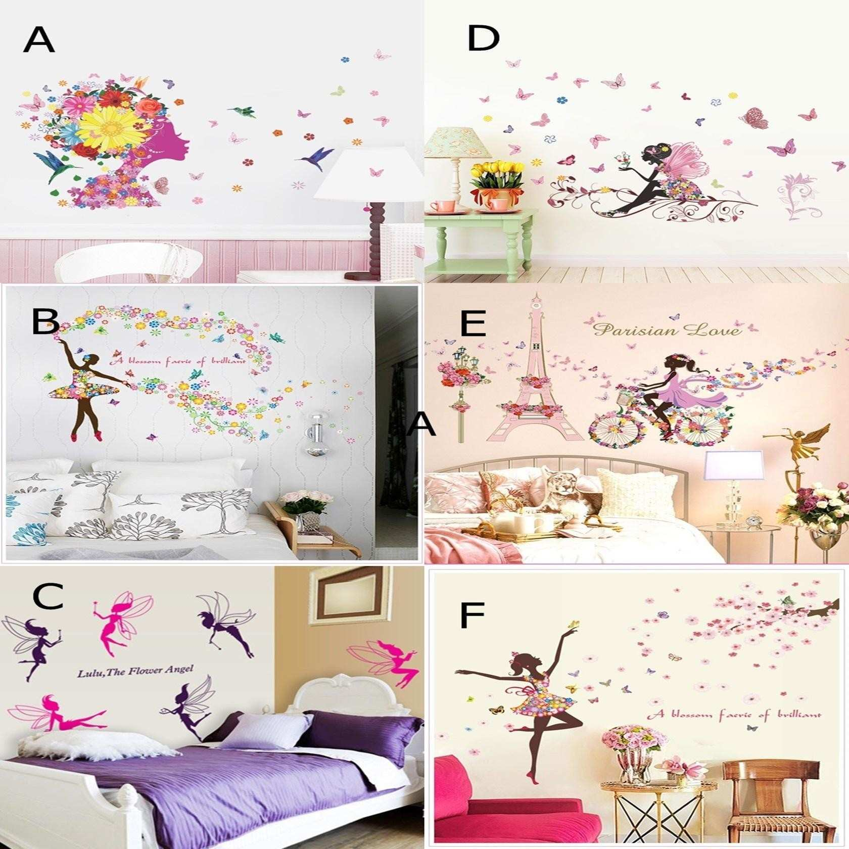 Flower Girls Wall Art Stickers DIY Girls Wall Decals Elf Wallpaper