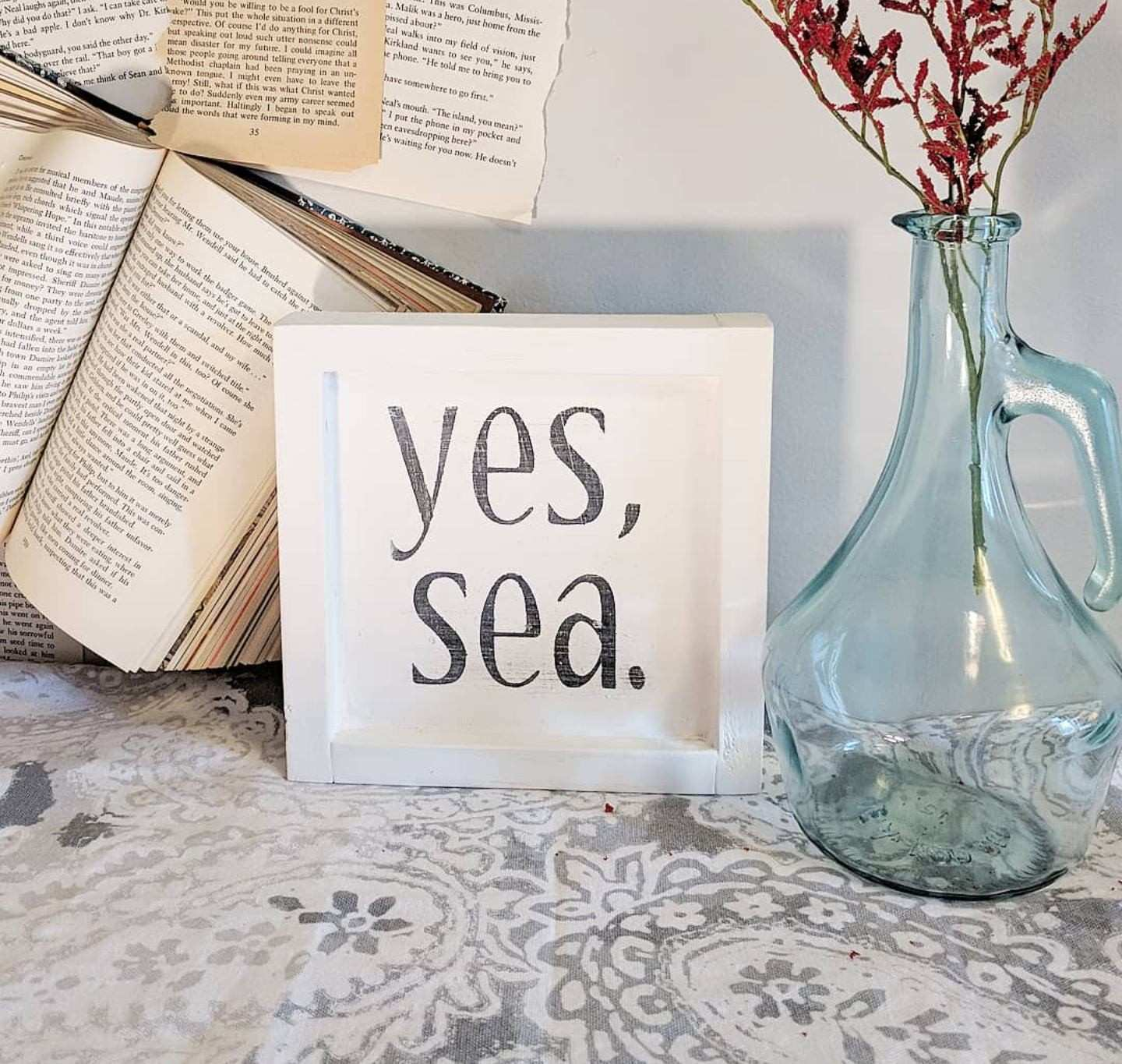 Yes Sea Home Decor Beach Sign Simple Wall Decor Wooden