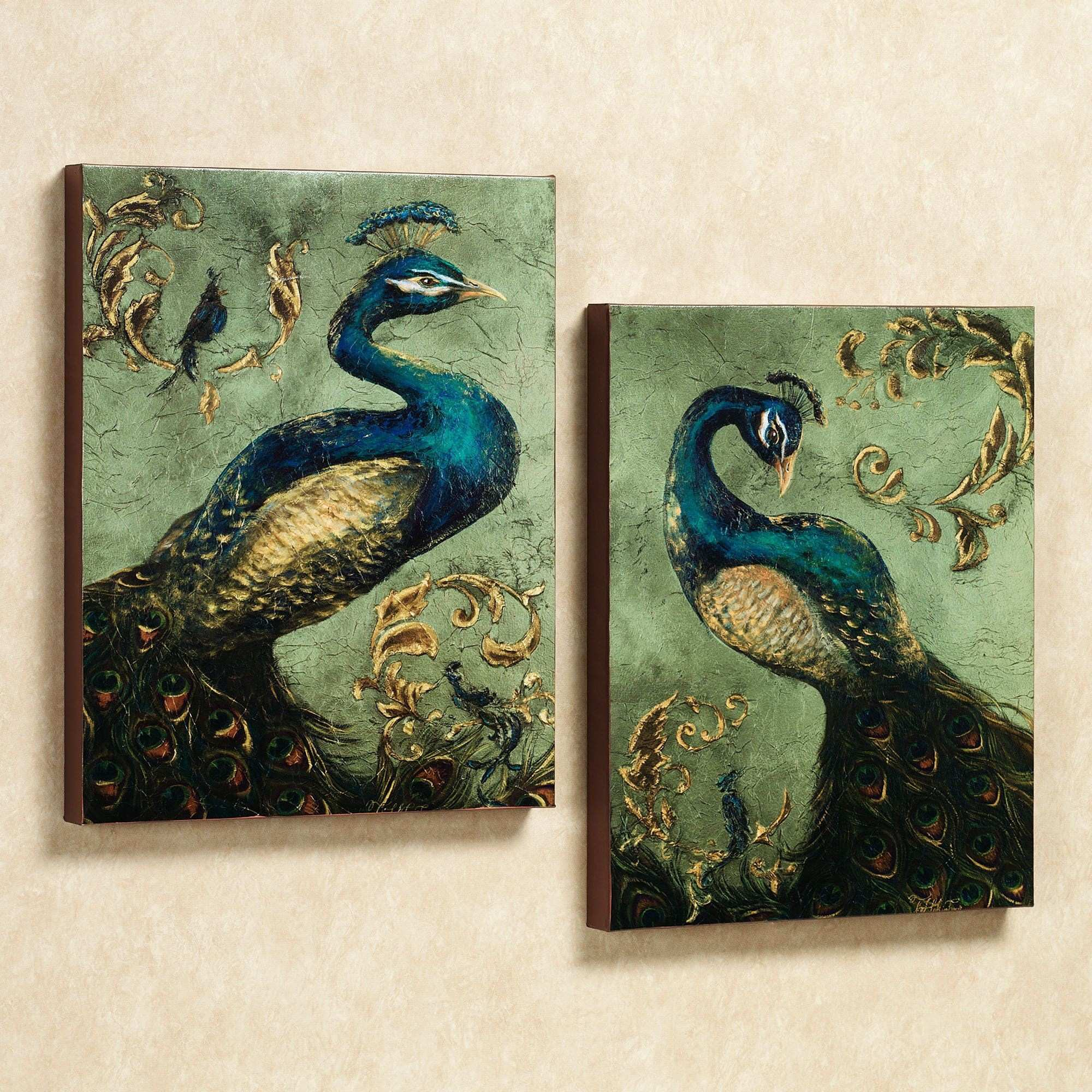 Peacock Painting Canvas Inspirational Peacock Canvas Wall Art Set