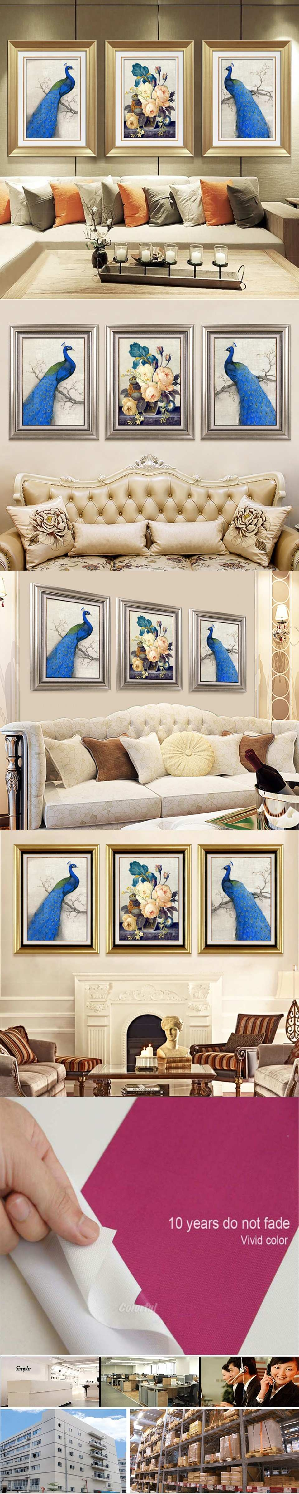 Oil Painting Canvas Print Animal Peacock Flower Modern Picture Home