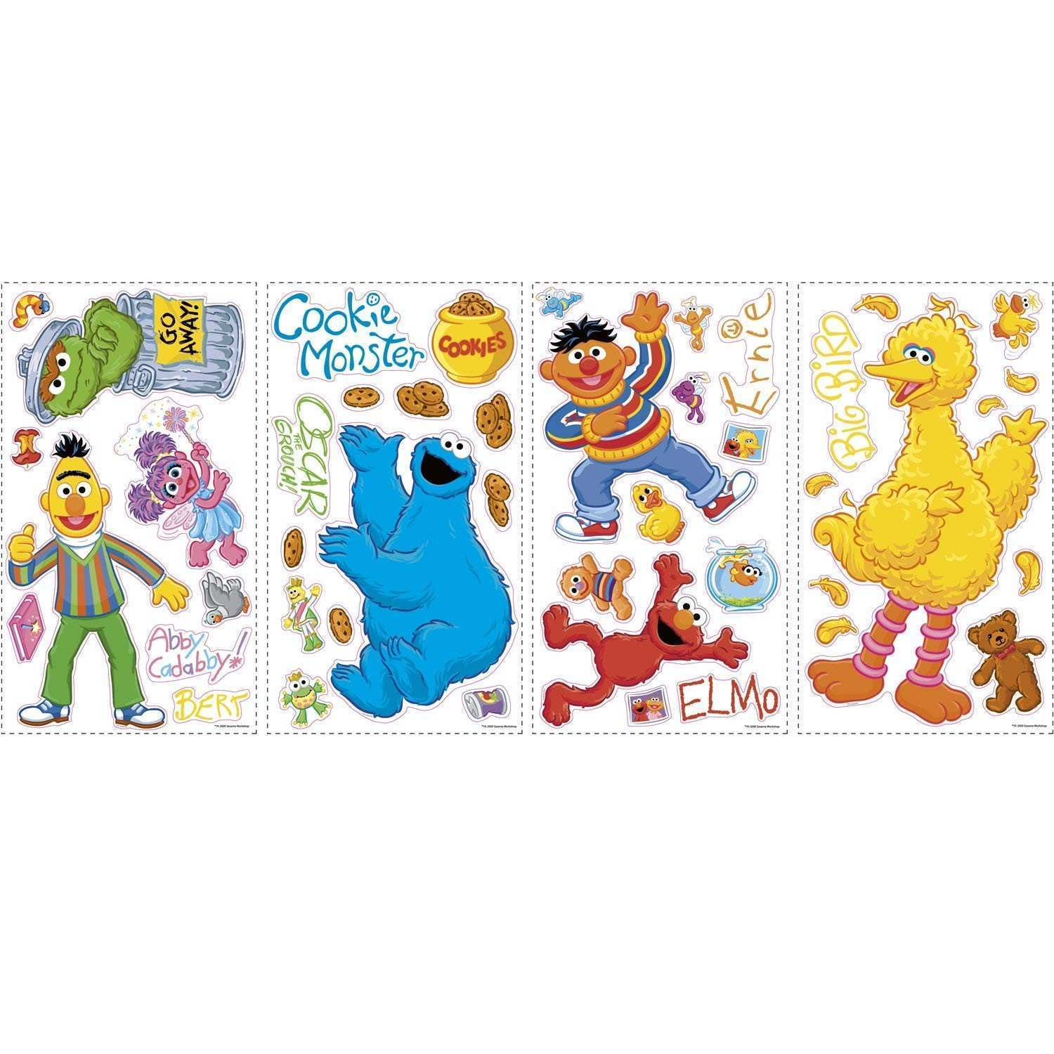 RoomMates RMK1384SCS Sesame Street Peel & Stick Wall Decals Wall
