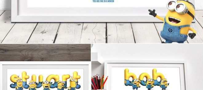 Personalised Wall Stickers Lovely Personalised Minion Name Minion Gift Minion Name Art Nursery