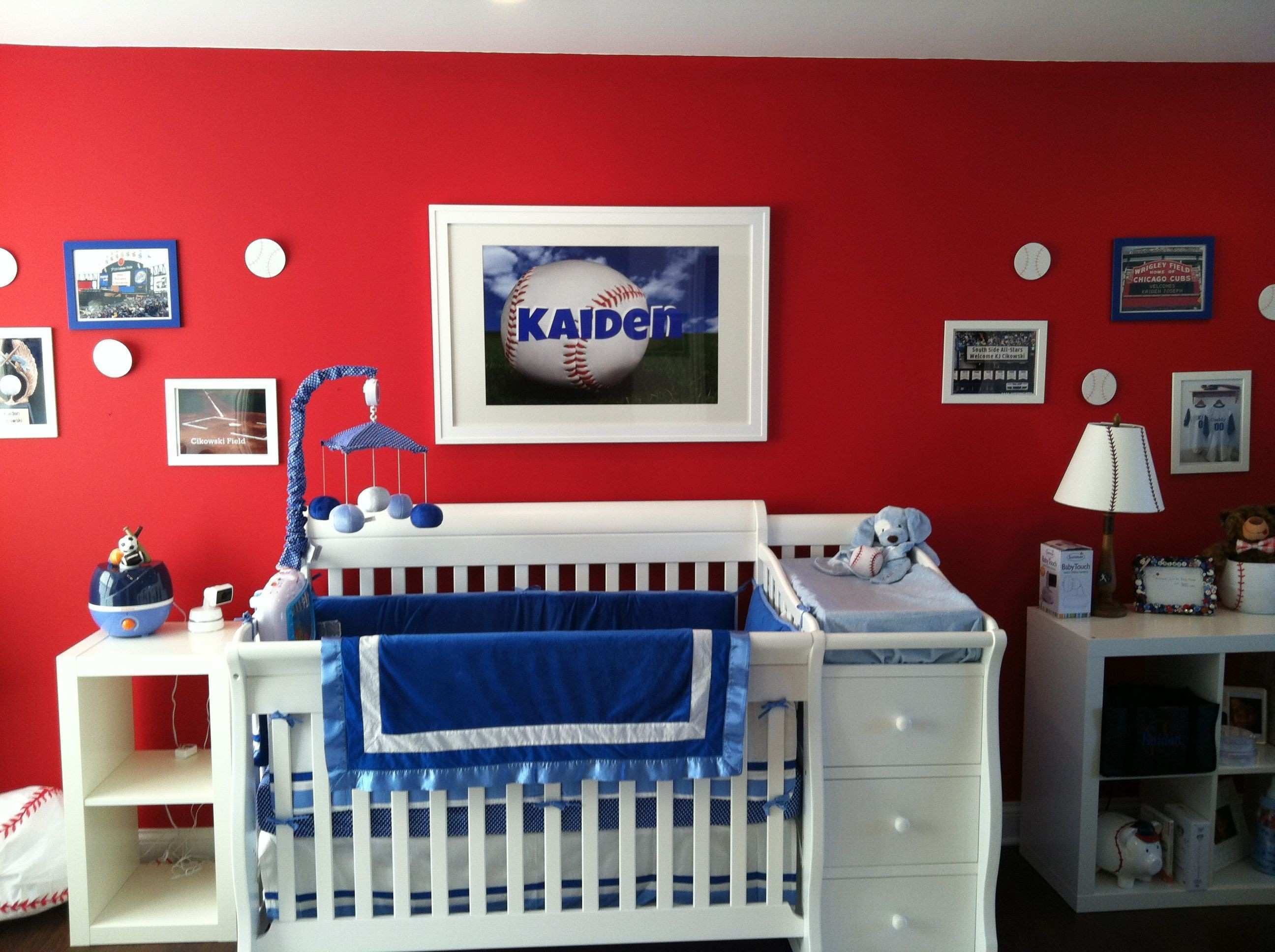 Red And Blue Personalized Baseball Nursery For Baby Kaiden For In