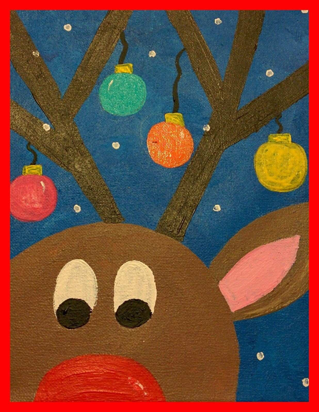 Granny Goes to School Guided Art Reindeer on Canvas