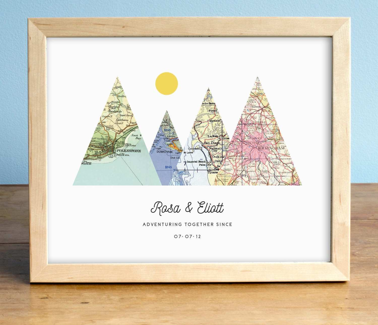 Adventure to Her Print 4 Map Mountain Print Personalized Design