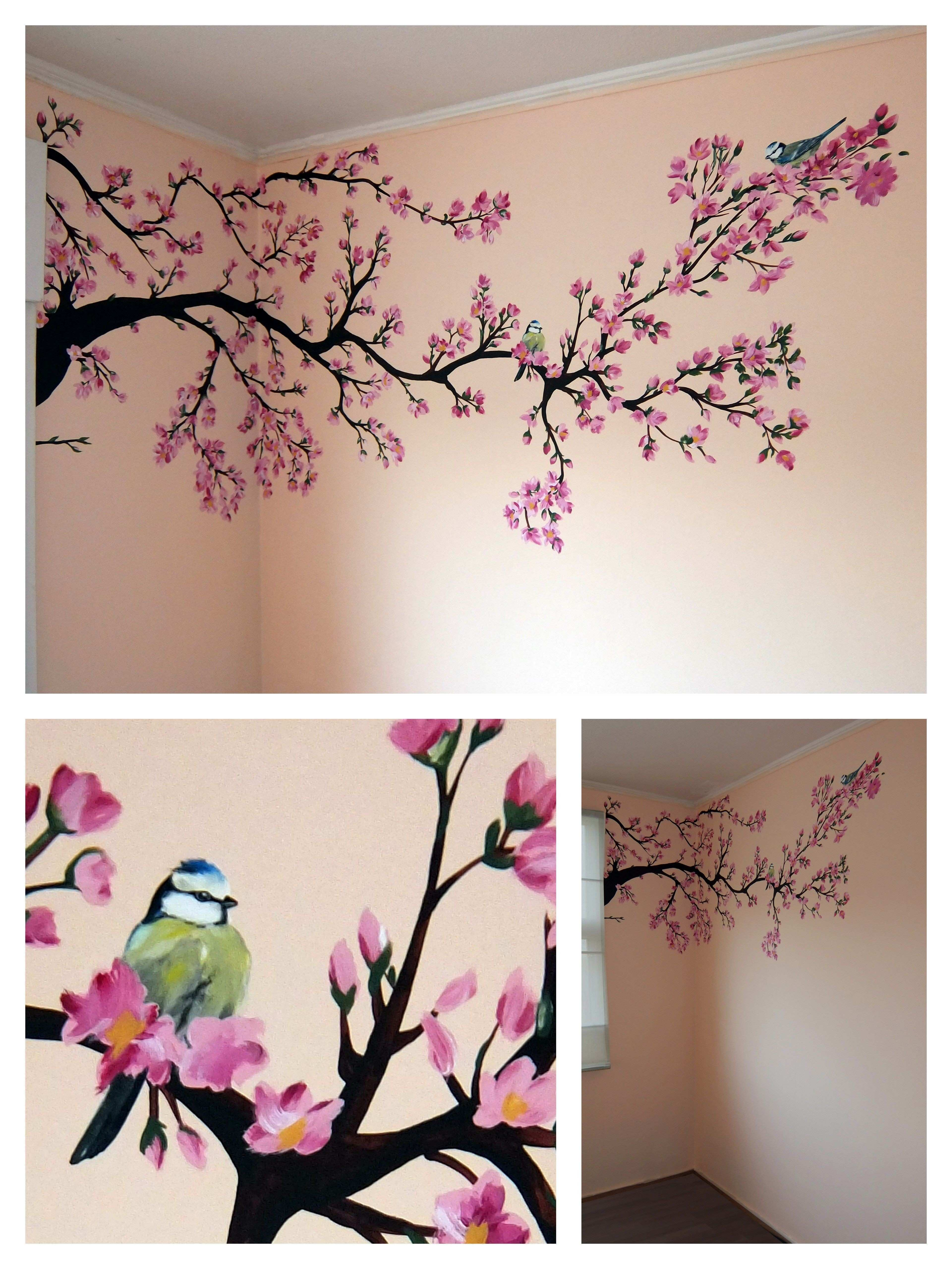 Wall painting spring tree Baby room Paint Pinterest