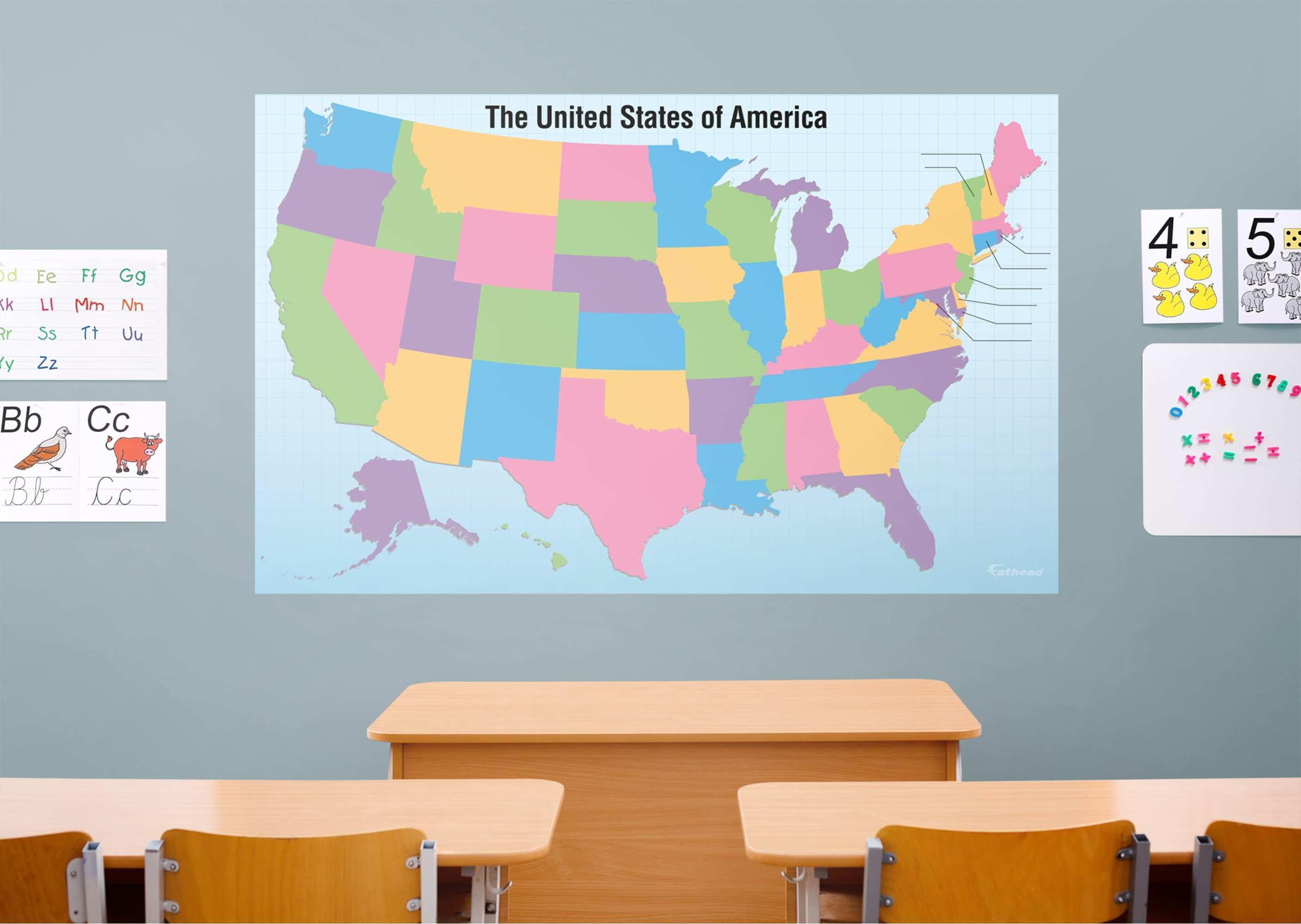 Dry Erase USA Map With Removable State Names Wall Decal