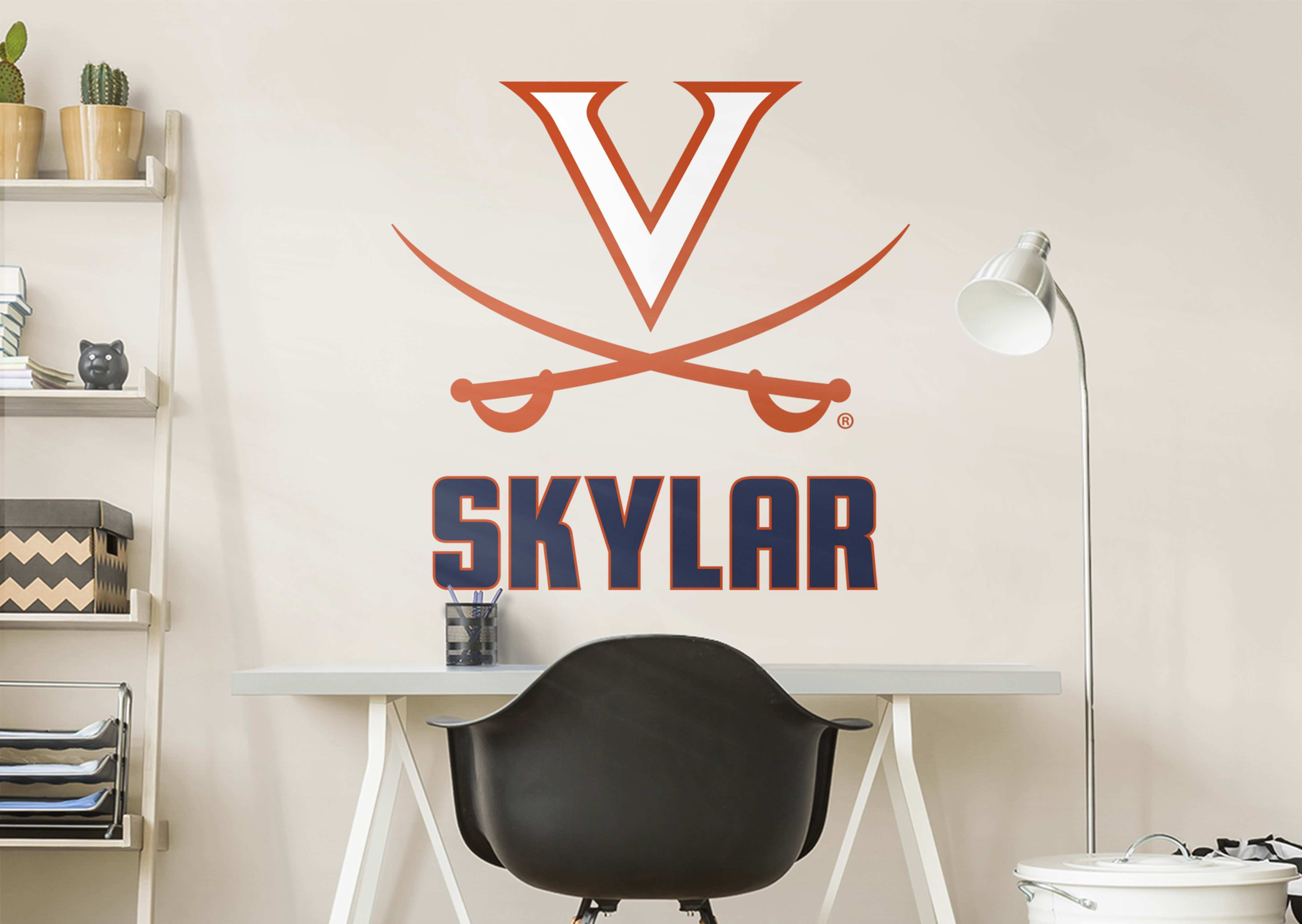 Virginia Cavaliers Stacked Personalize Name Navy Logo Navy Wall