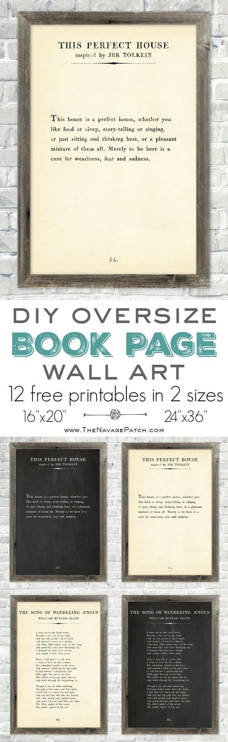 DIY Oversize Book Page Wall Art and 12 Free Printables The