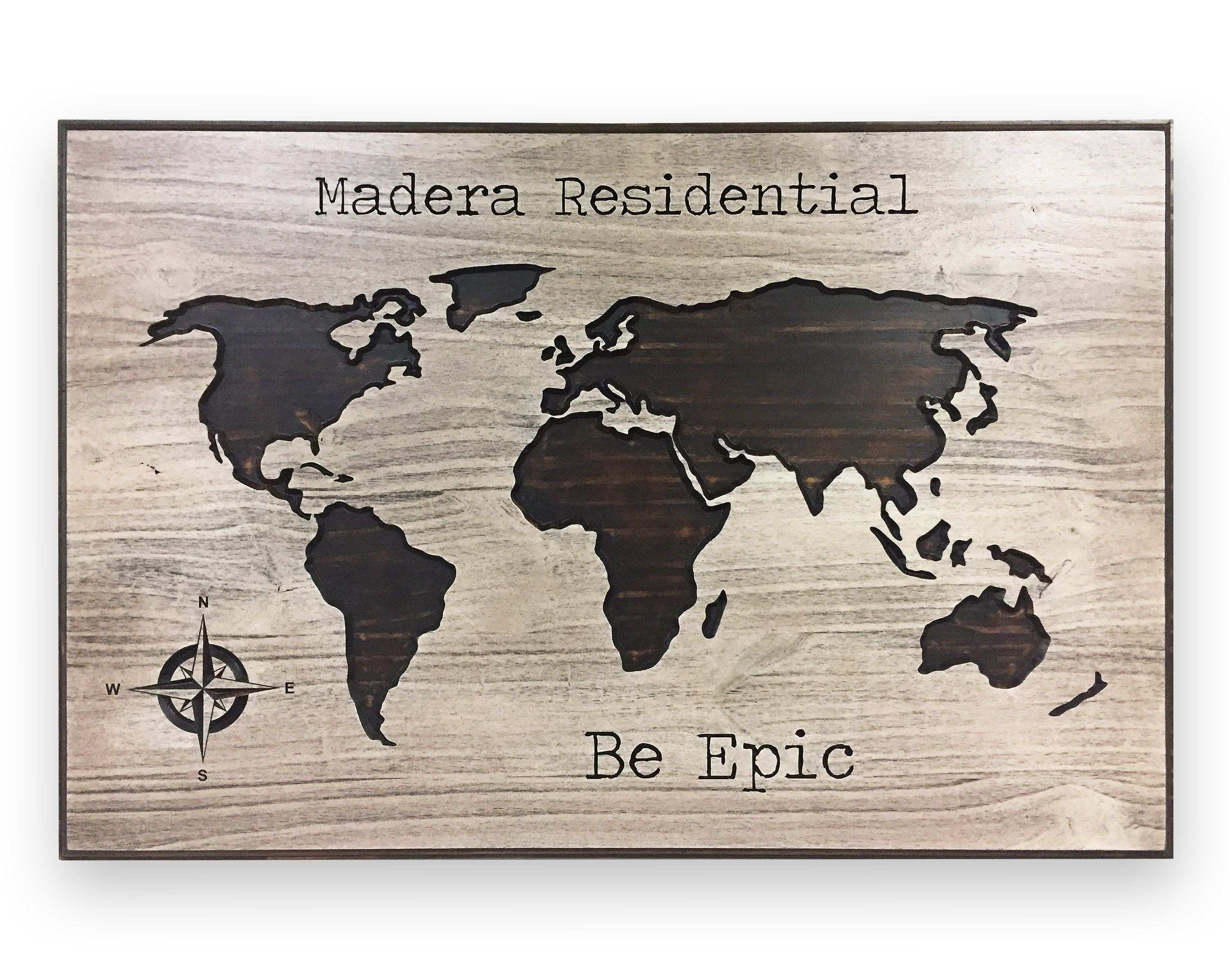 Be Epic Push Pin World Map World Map Art Quote Sign Custom
