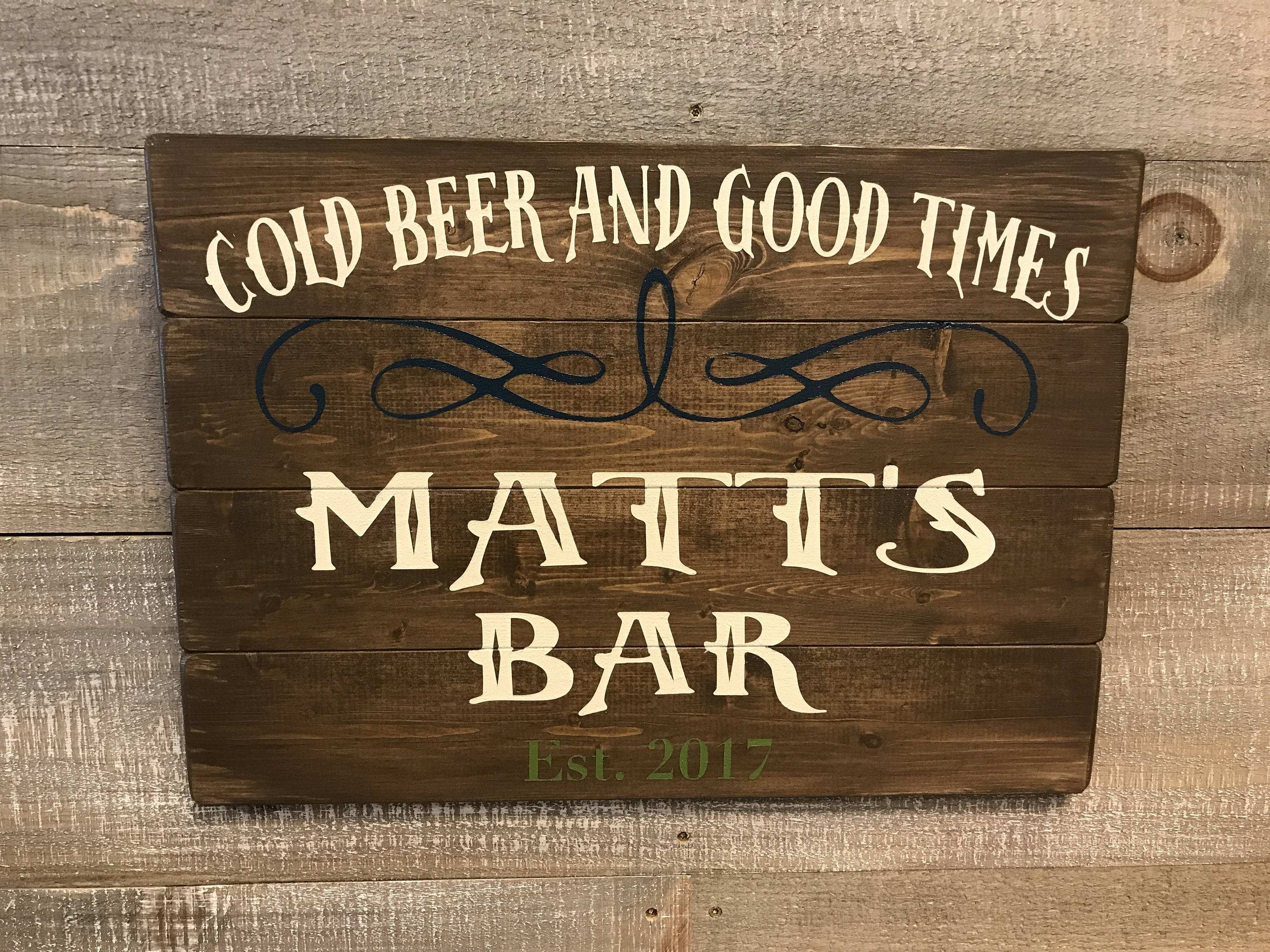 Wood Bar Signs Rustic Bar Sign Wood Custom Wood Bar Sign