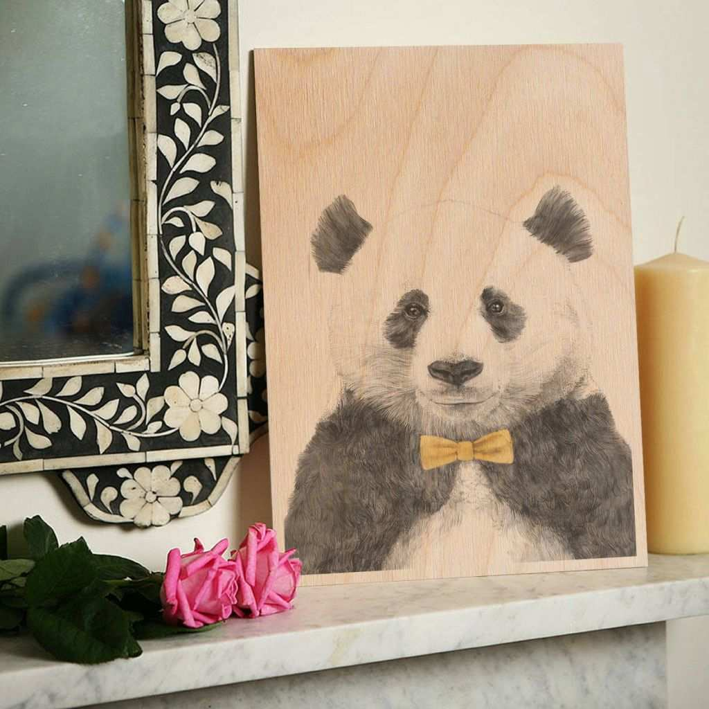 Personalized Wood Wall Art Unique Panda Bow Tie Wooden Timbergram Wall Art Wooden Postcards and Gifts