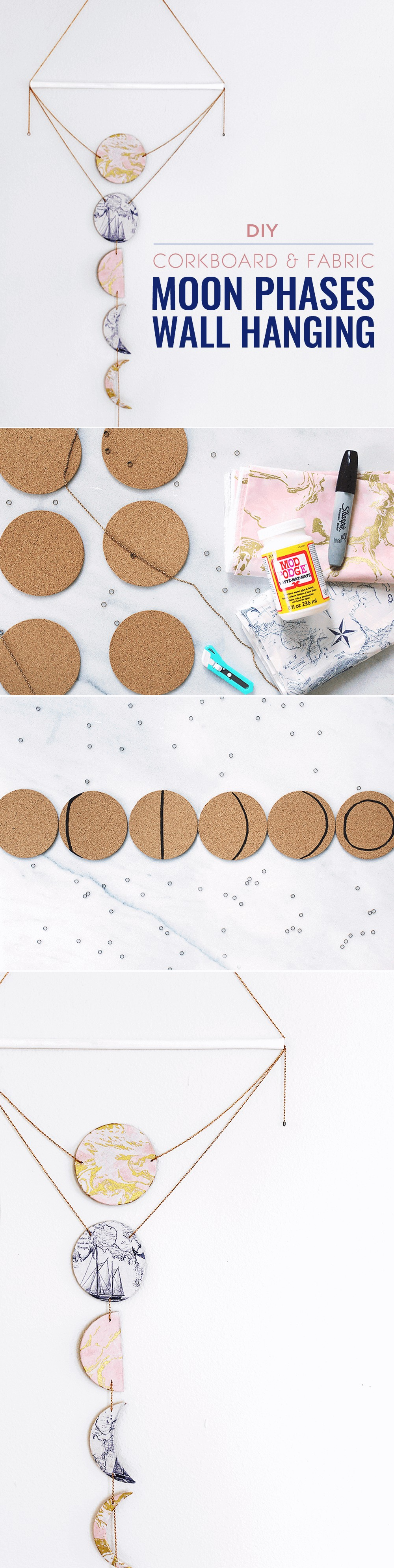 DIY Moon Phases Wall Hanging Pinterest