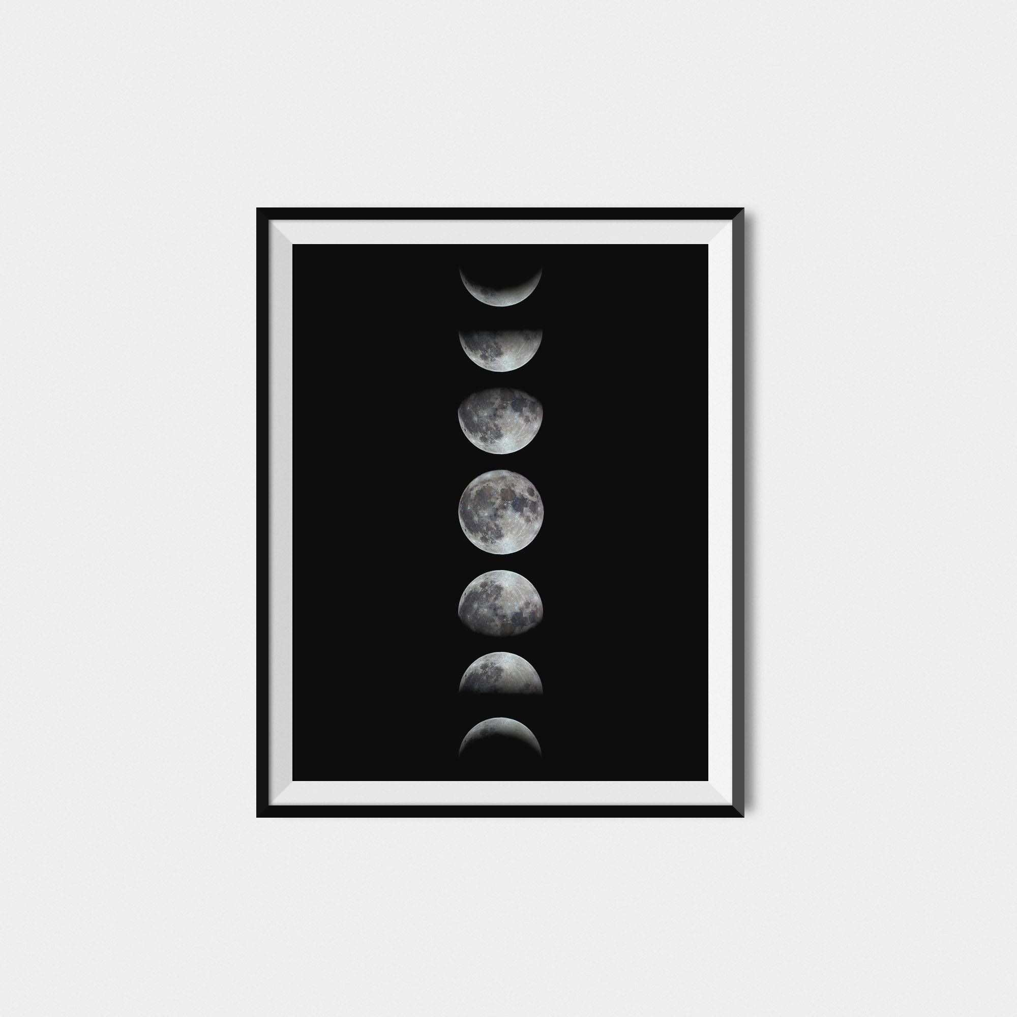 Moon Phase Print Moon Phase Wall Art Moon Phases Art Affiche