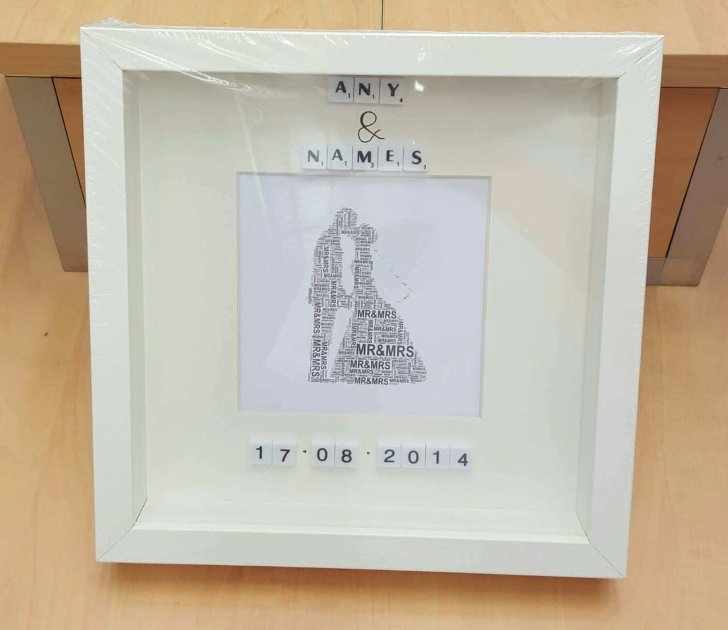 Personalised wedding t display box frame lucky couple 1st dance