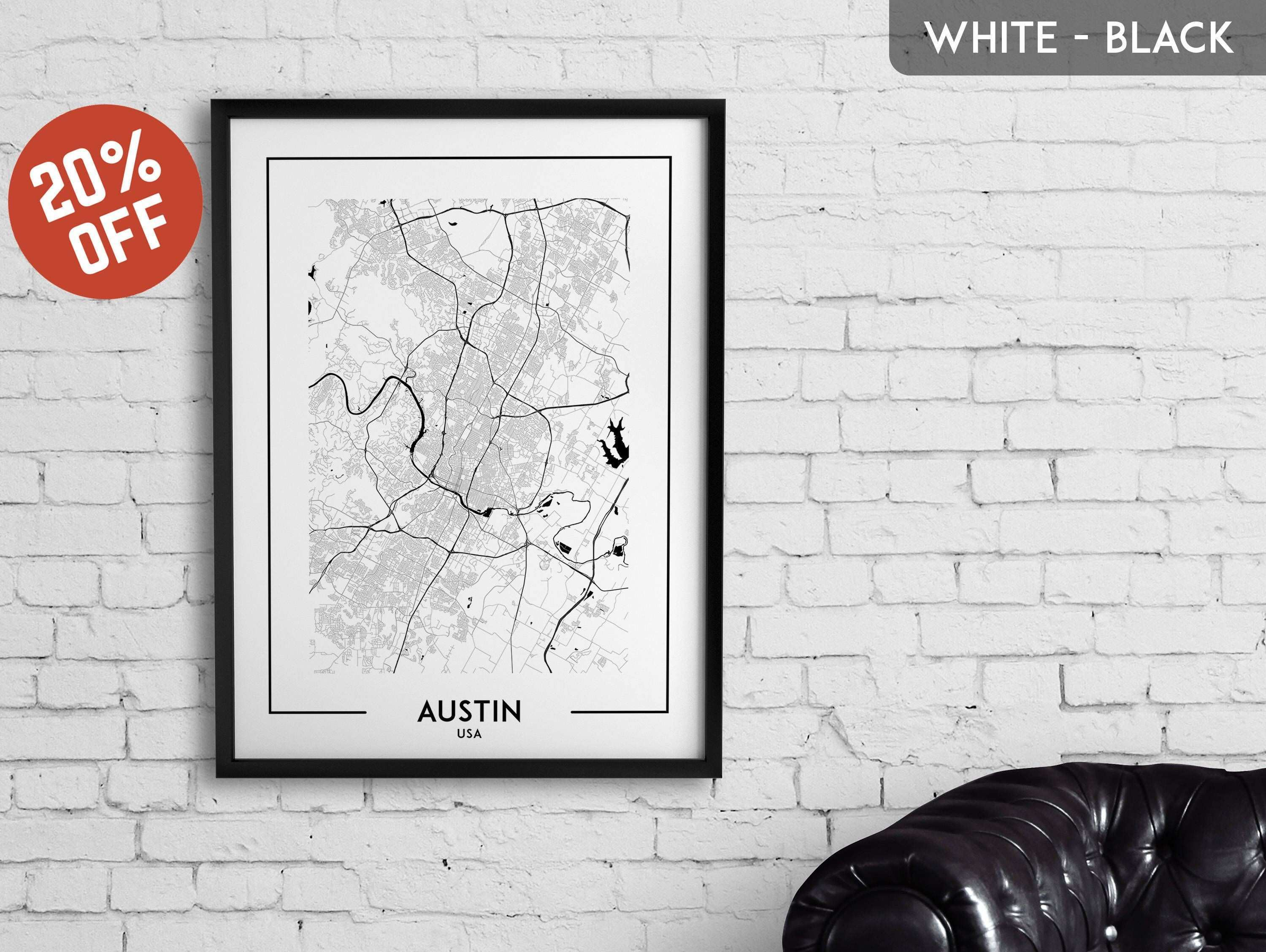 AUSTIN map print Austin poster Austin wall art Austin city map
