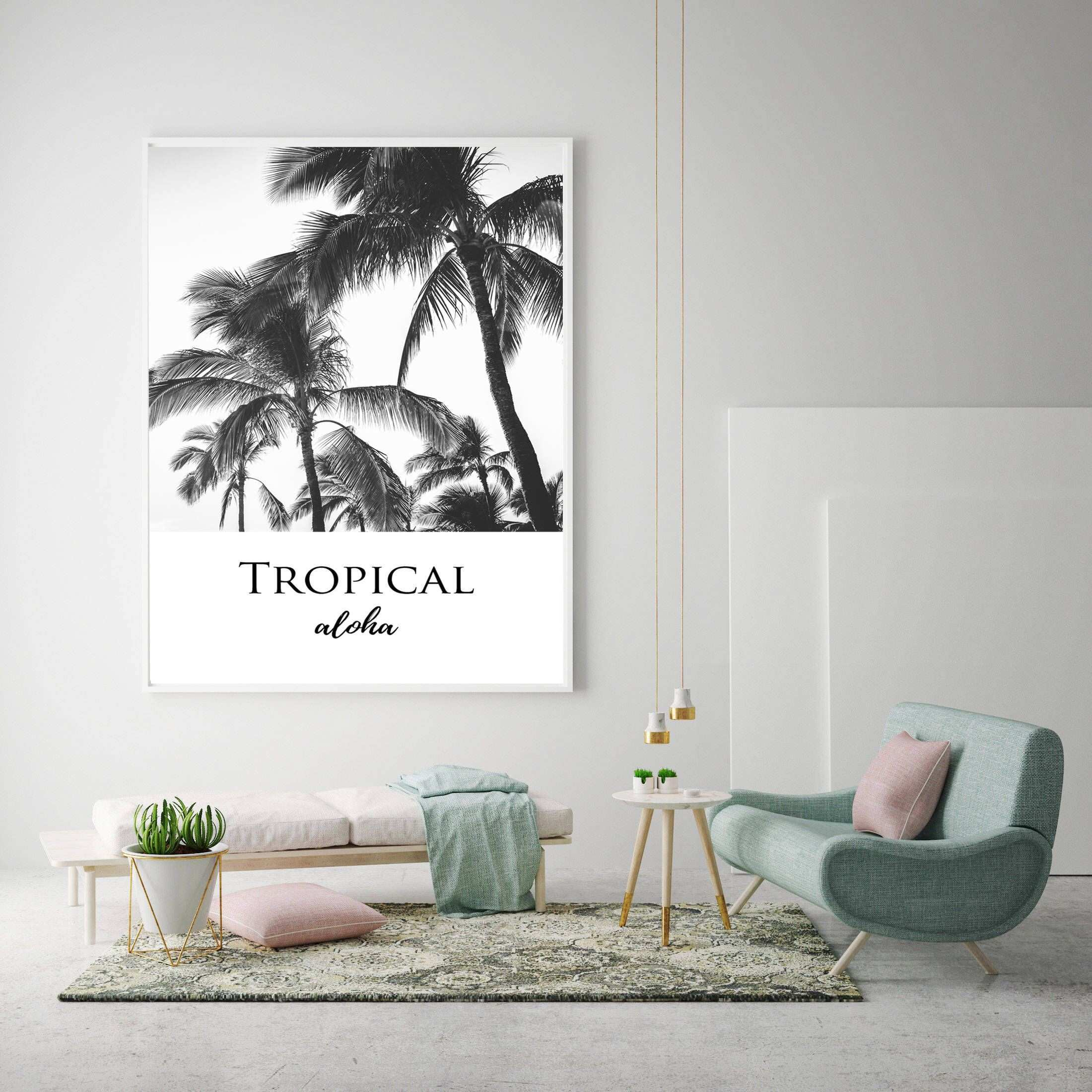 tropical decor palm trees print aloha wall art scandinavian decor