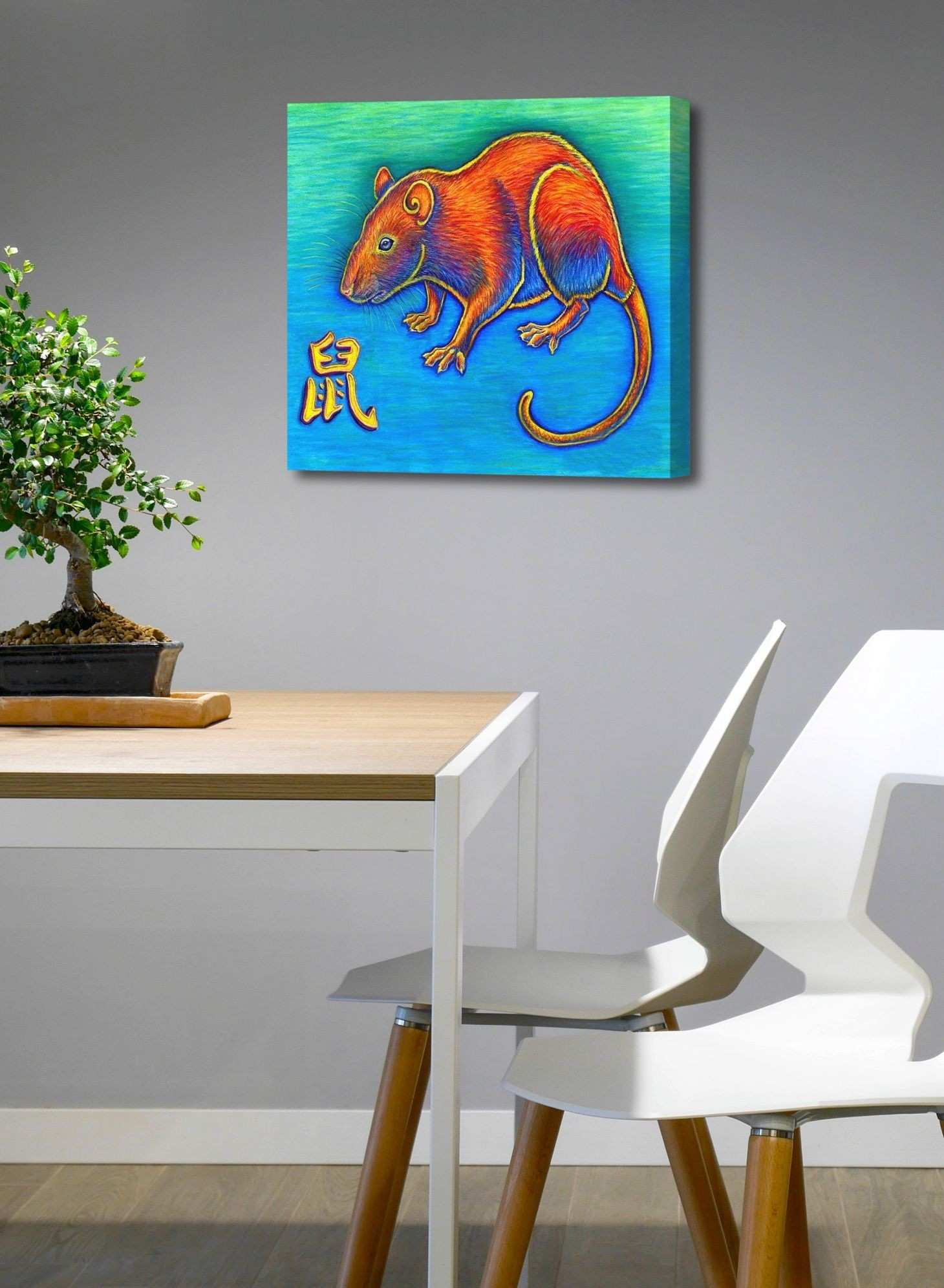 Colorful Chinese Zodiac Animals Year of the Rat canvas art print