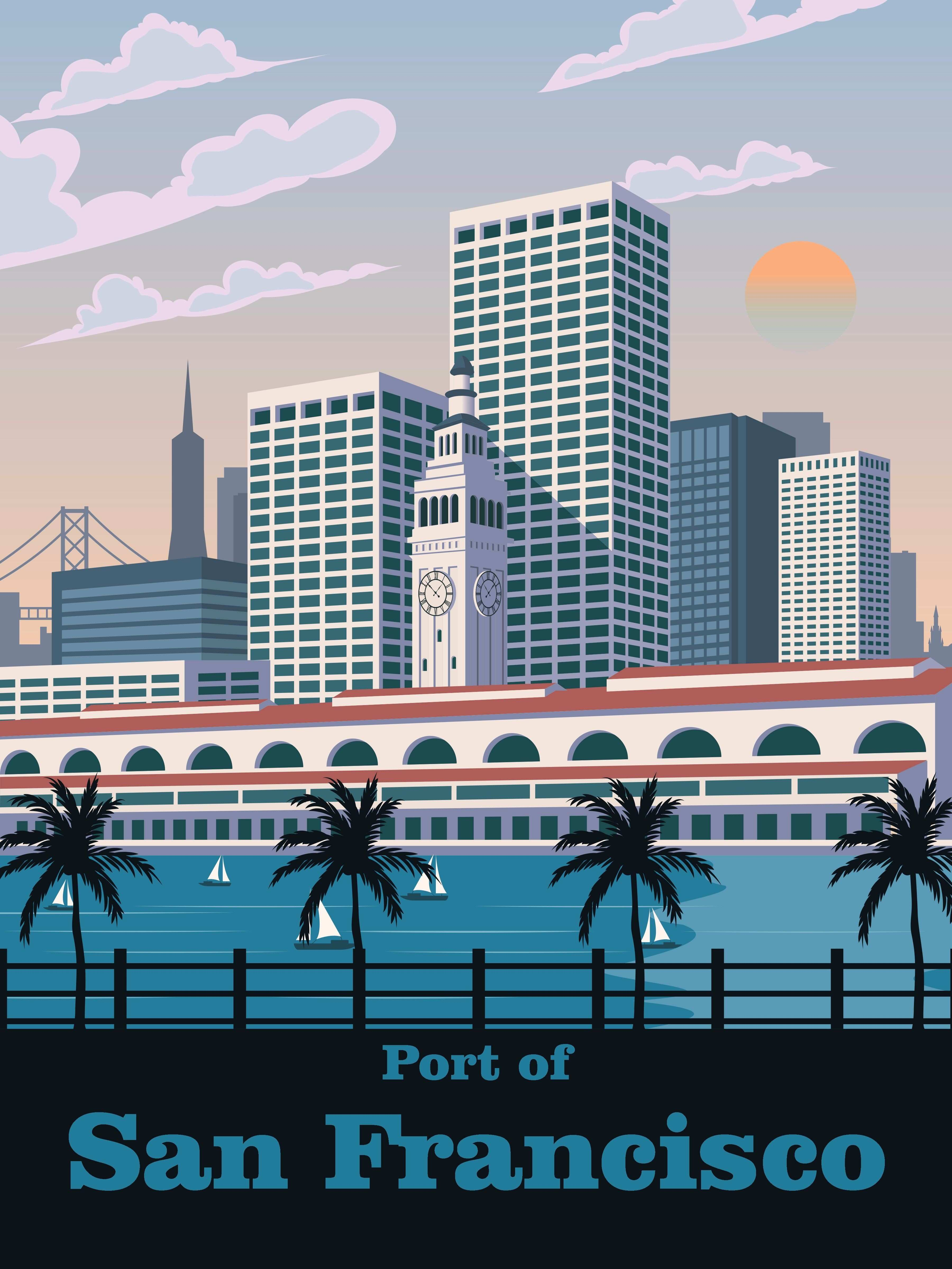 San Francisco poster Travel Vintage art Retro print Wall art