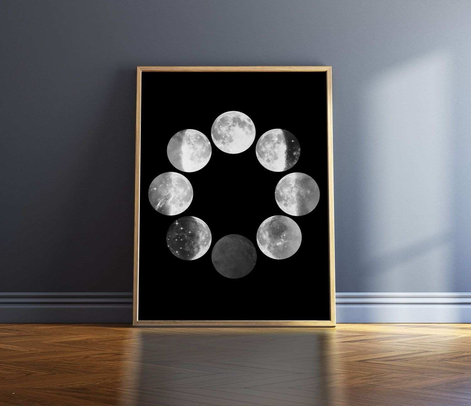White Wall Lights New Moon Phases Print Black and White Print Moon