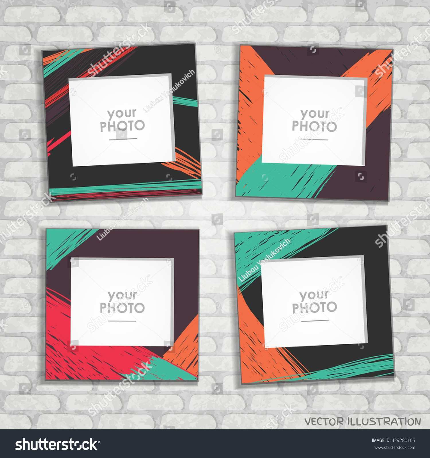 Collage Frame Album Template Kids Stock Vector