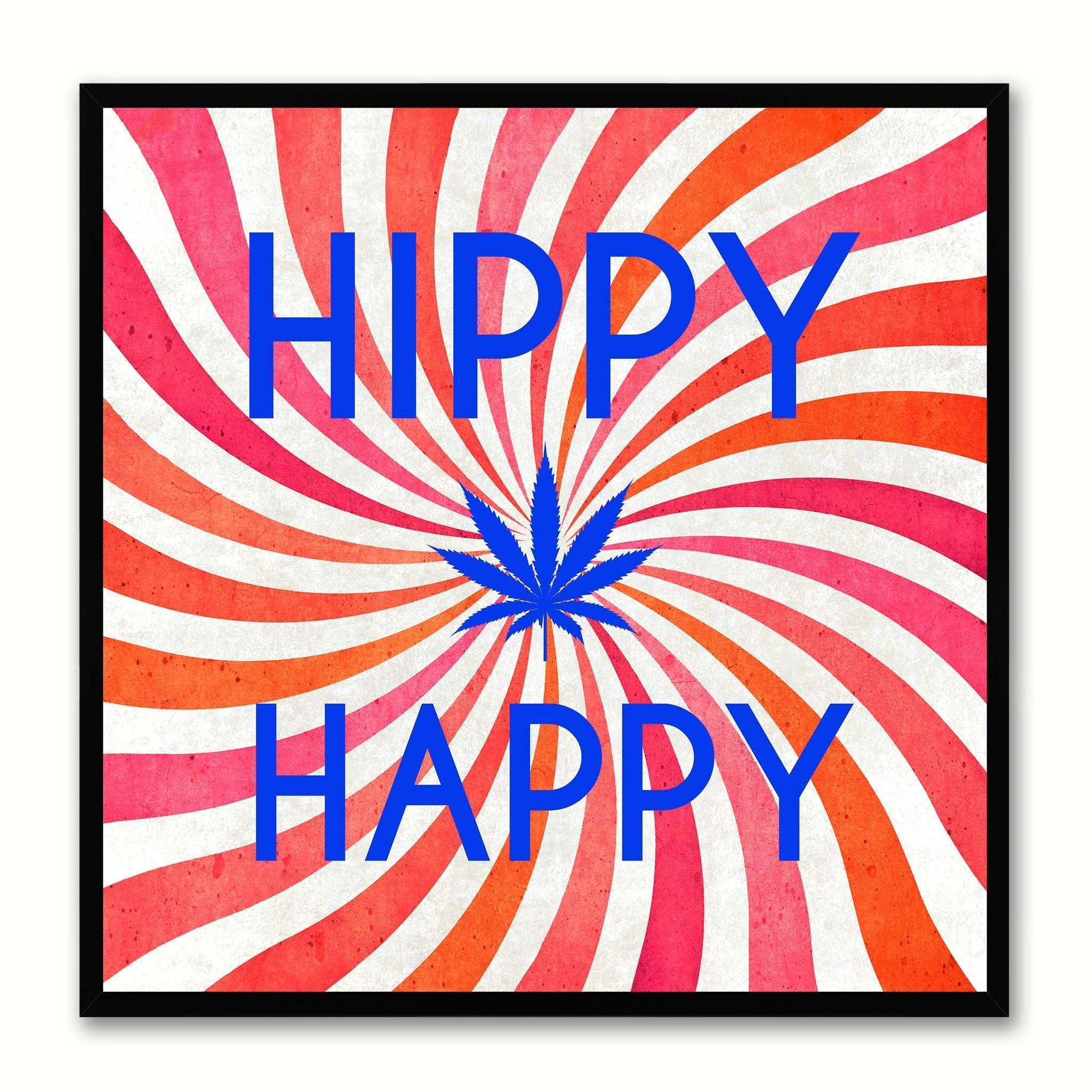 Hippy Happy Adult Sign Frame Gift Canvas Print Home Décor Wall Art