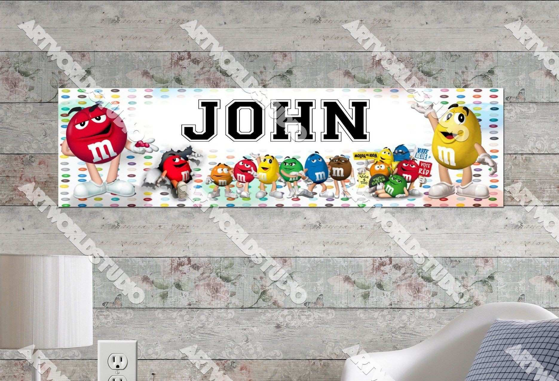 Personalized Customized M&M Candy Poster Border Mat and Frame