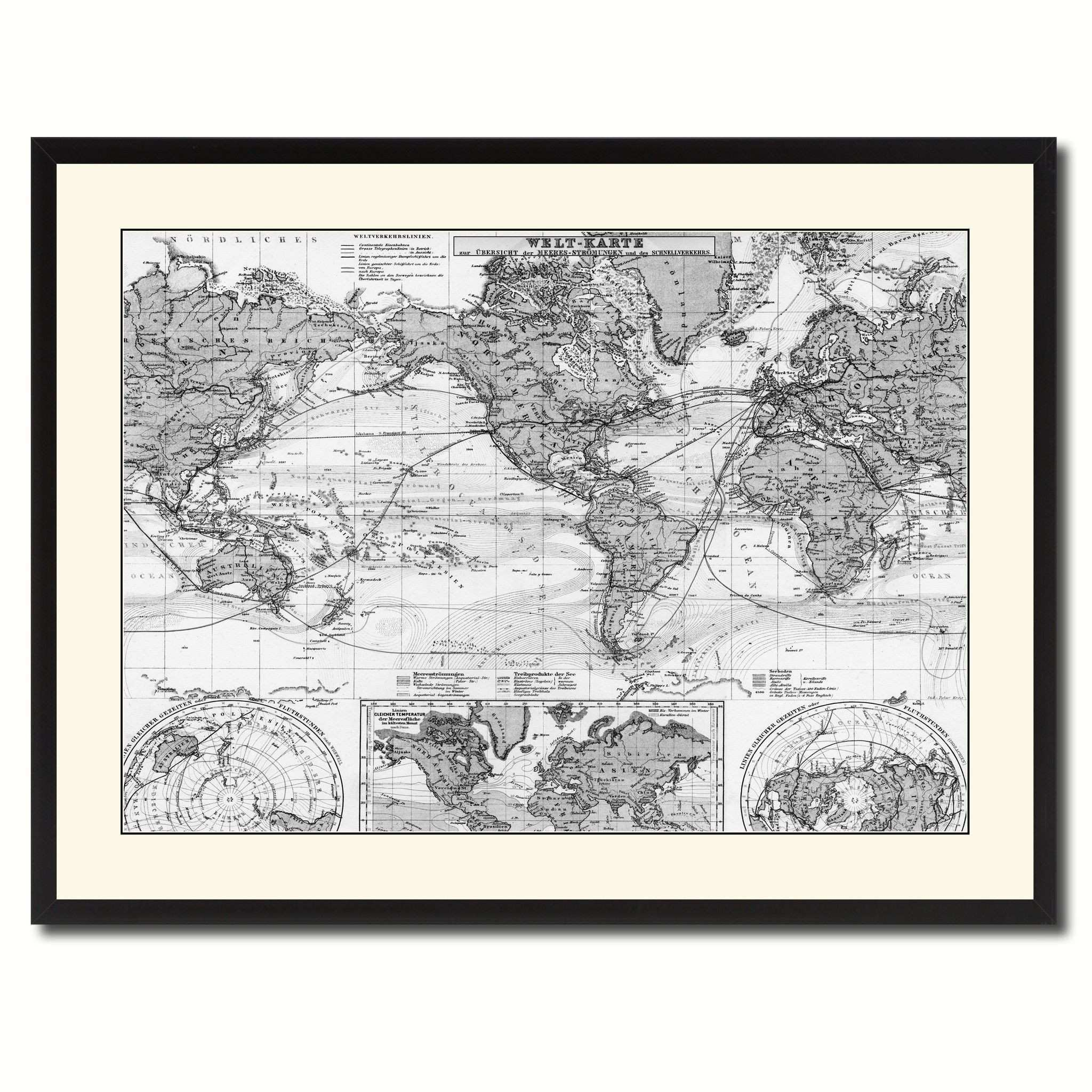 World Ocean Currents Vintage B&W Map Canvas Print Picture Frame