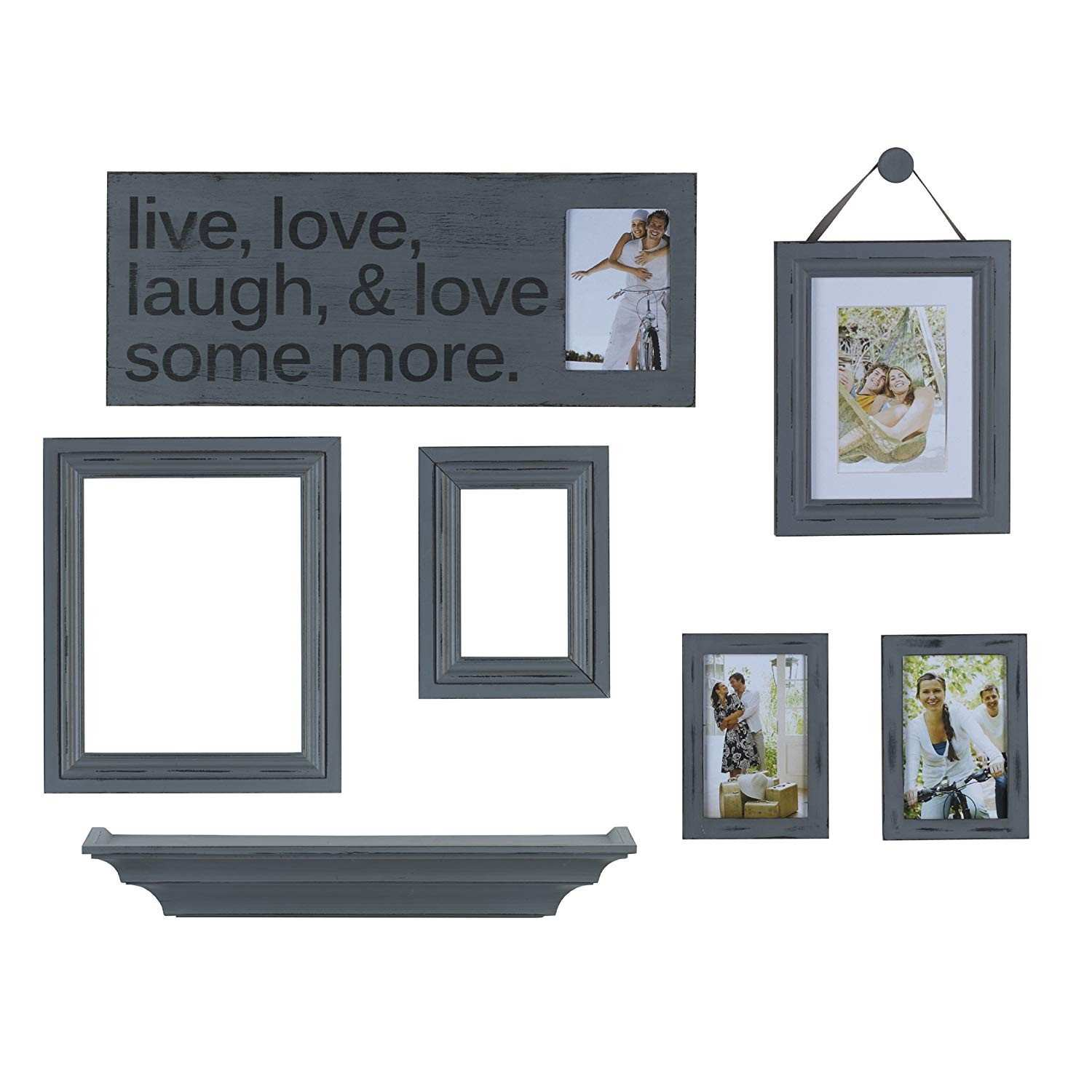 Amazon MELANNCO 8 Piece Distressed Wall Picture Frame Set