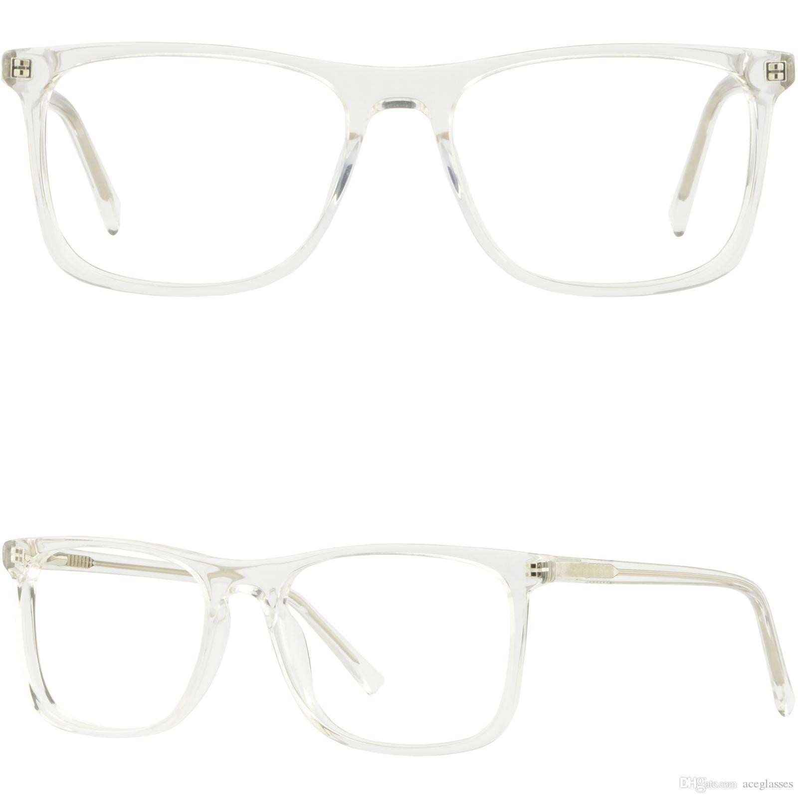Clear Translucent Wide Plastic Mens Womens Frames Eyeglasses
