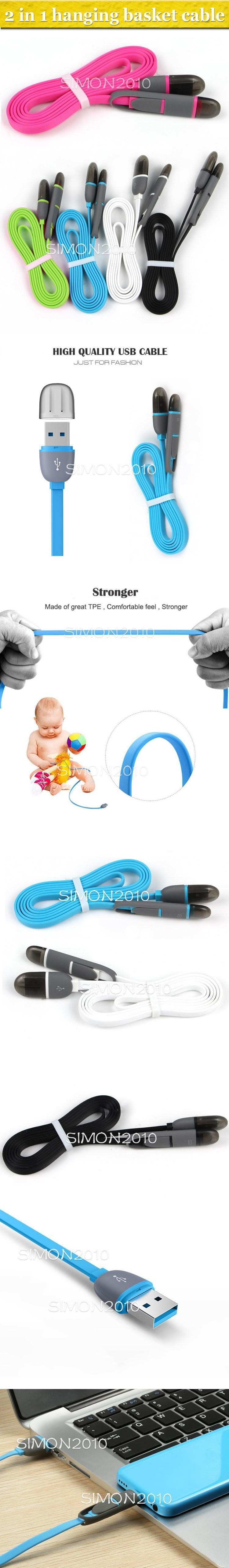 Hot Sale 1m 3ft Noodle Flat Charging Cable Data Sync Hanging Basket