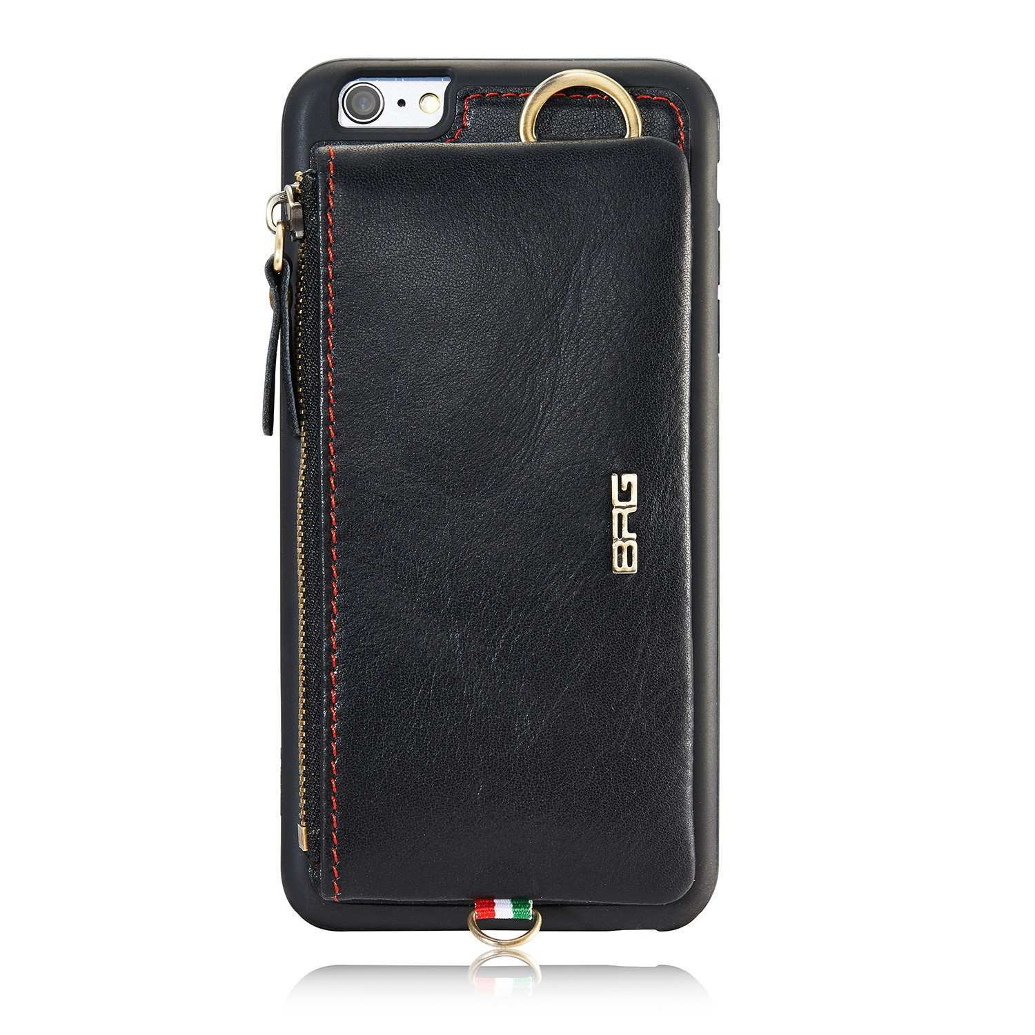 BRG Detachable Card slots Zipper Wallet Bag Leather Case With