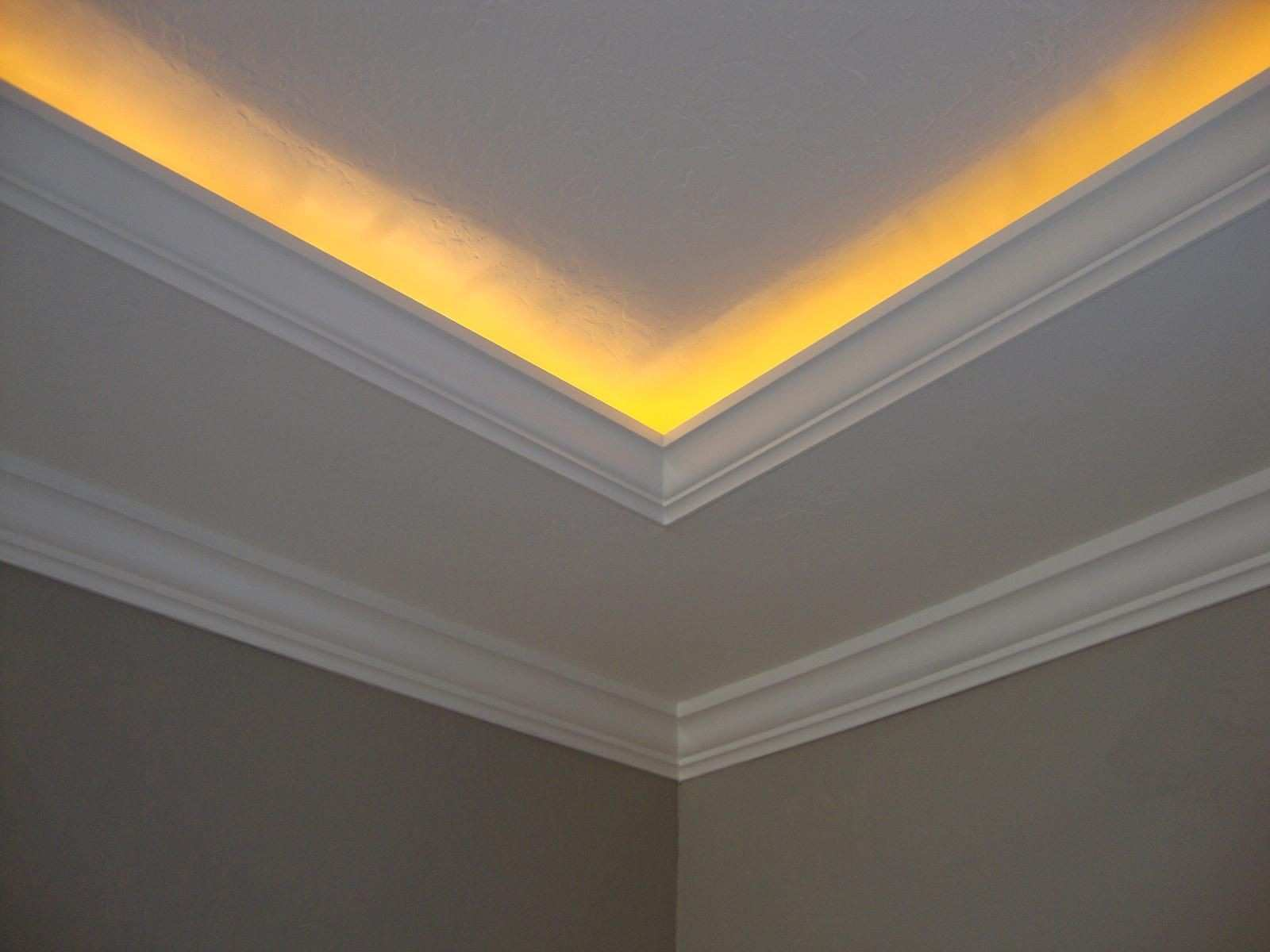 Crown molding with rope lights Going to do this next time I redo