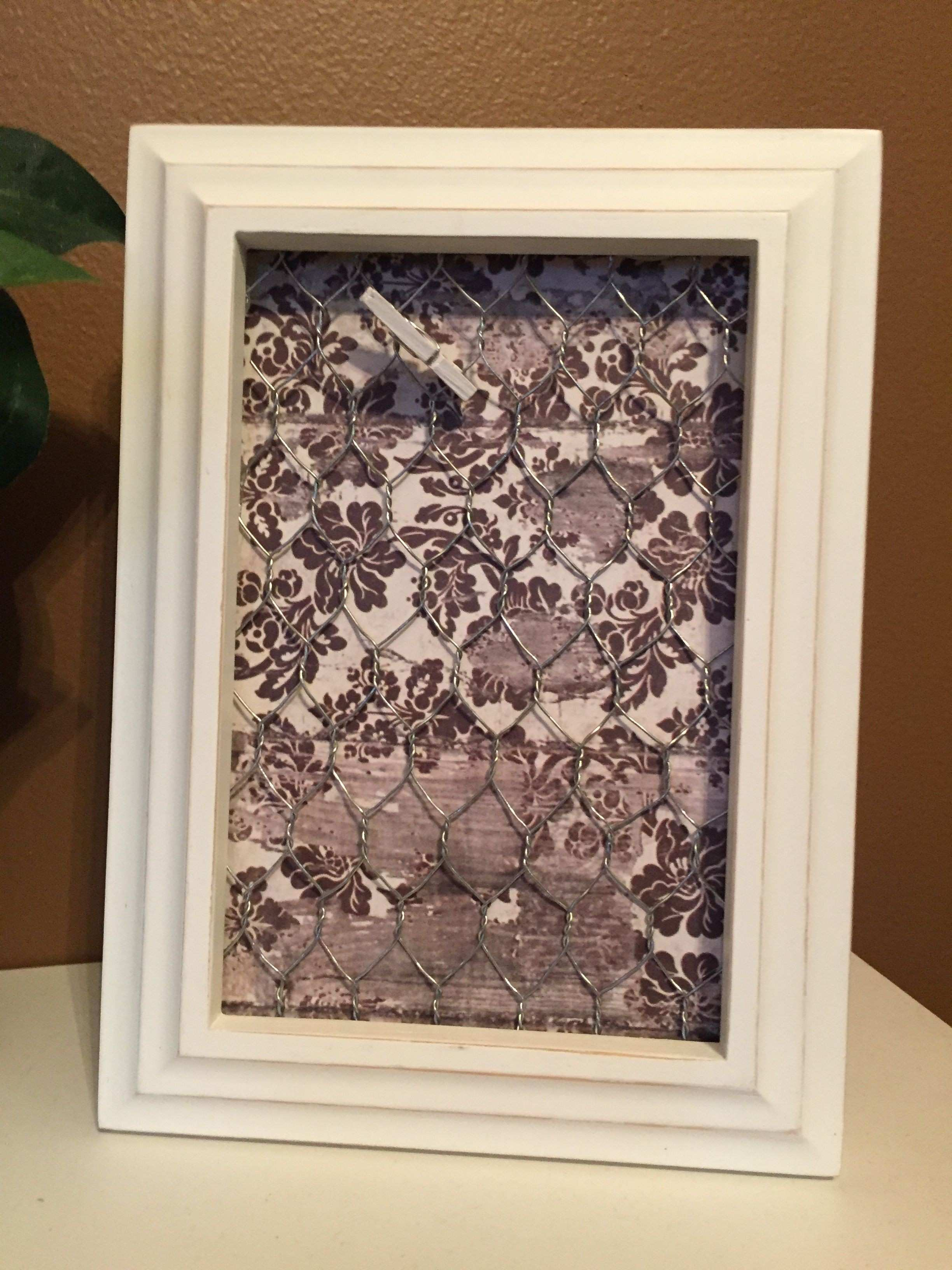 frame with scrapbook paper and chicken wire DIY