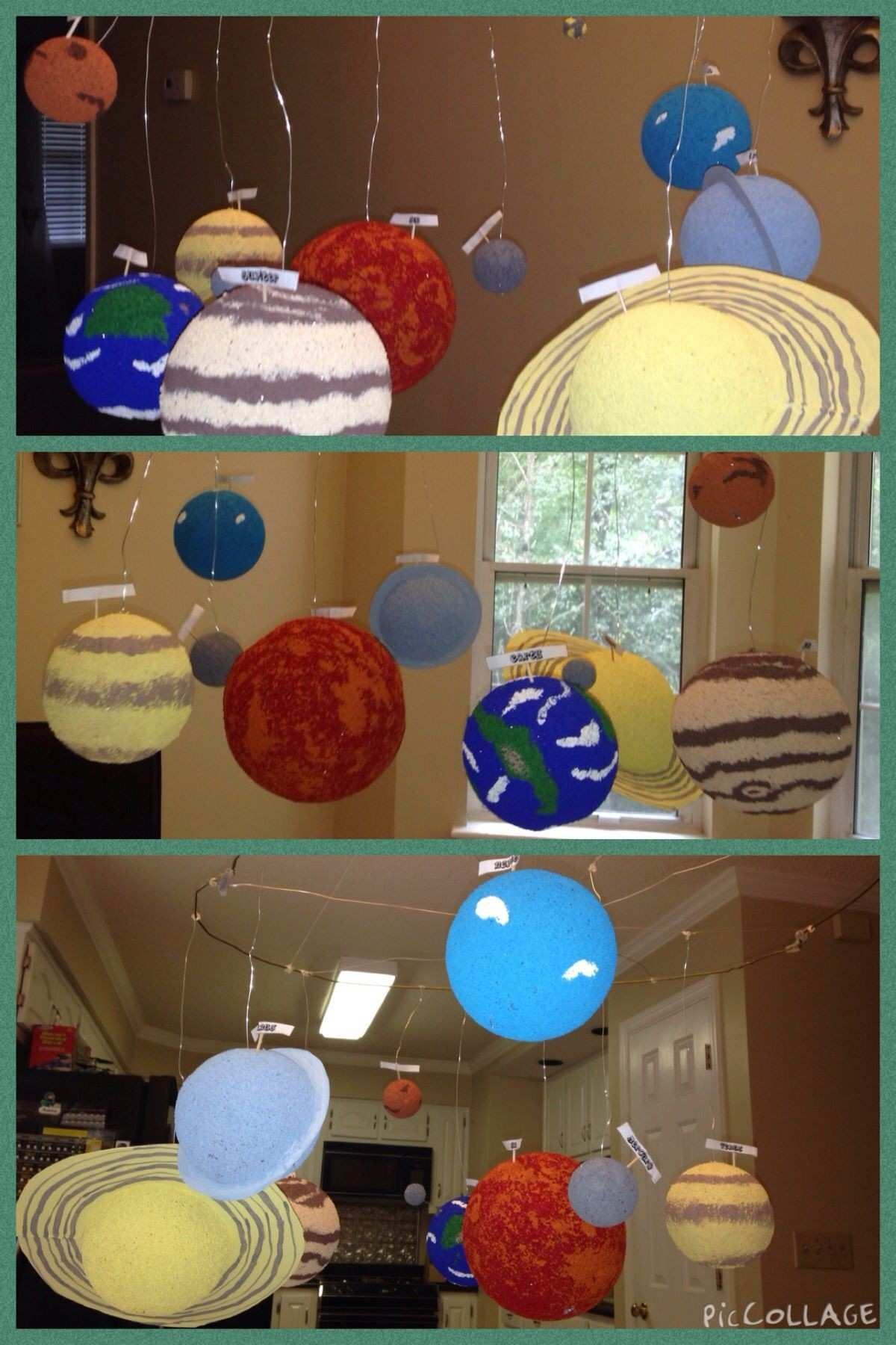 Solar system project We used two wire coat hangers to make a ring