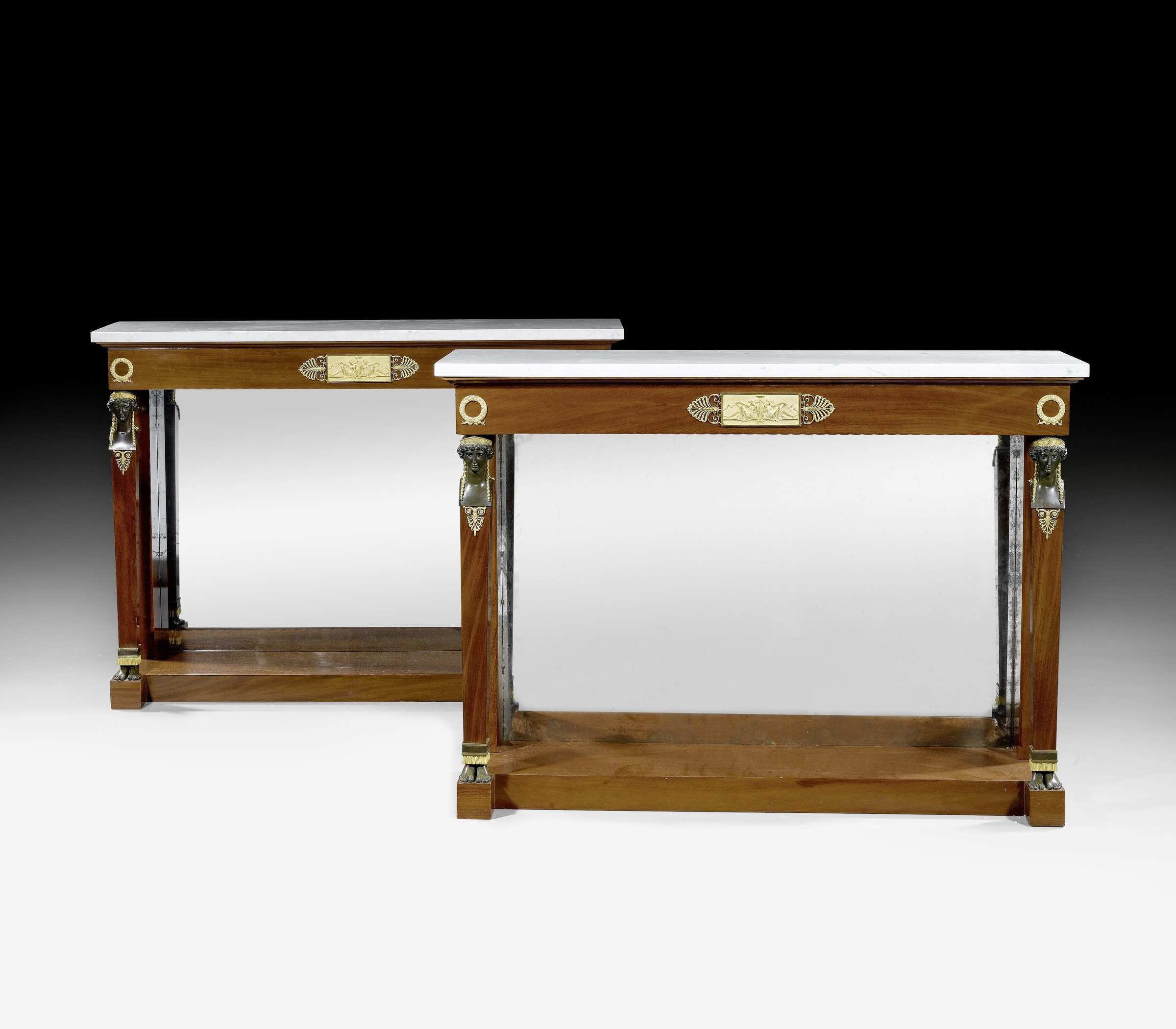 Bernard Molitor attributed to A pair of Empire consoles
