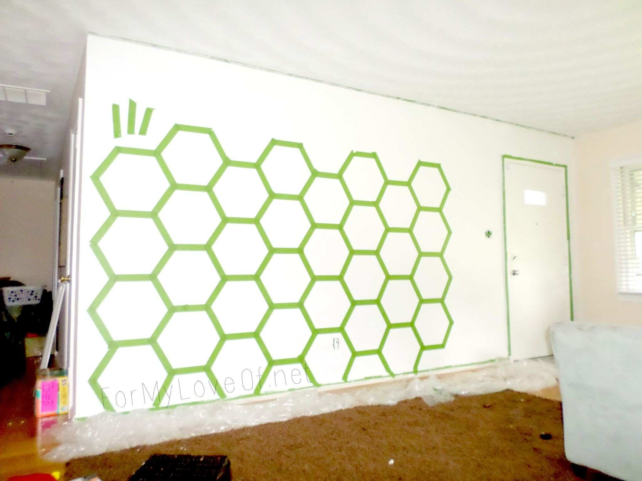 how to tape and paint a hexagon accent wall For My Love featured