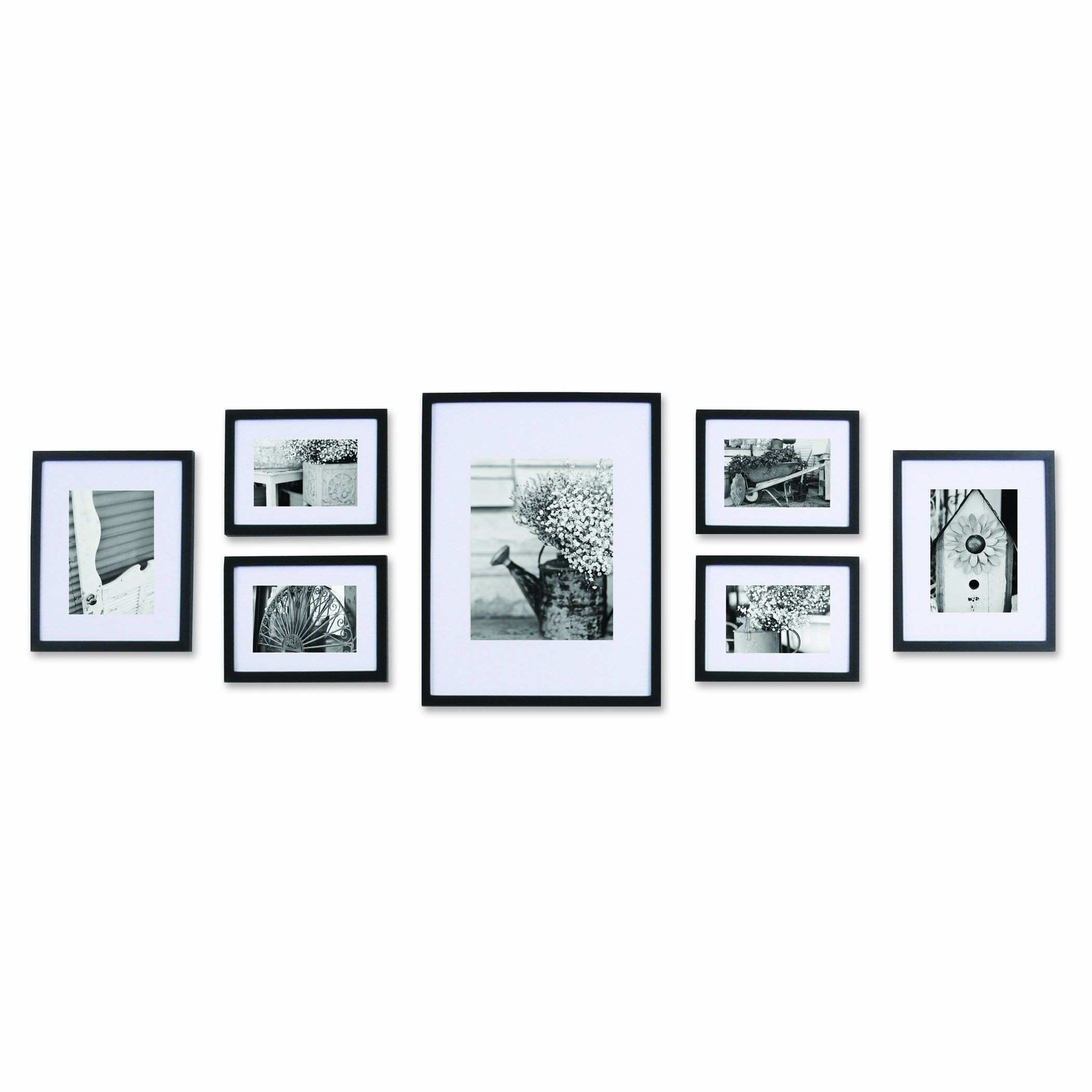 AmazonSmile Pinnacle 11FW1443 Black 7 piece Solid Wood Wall Frame