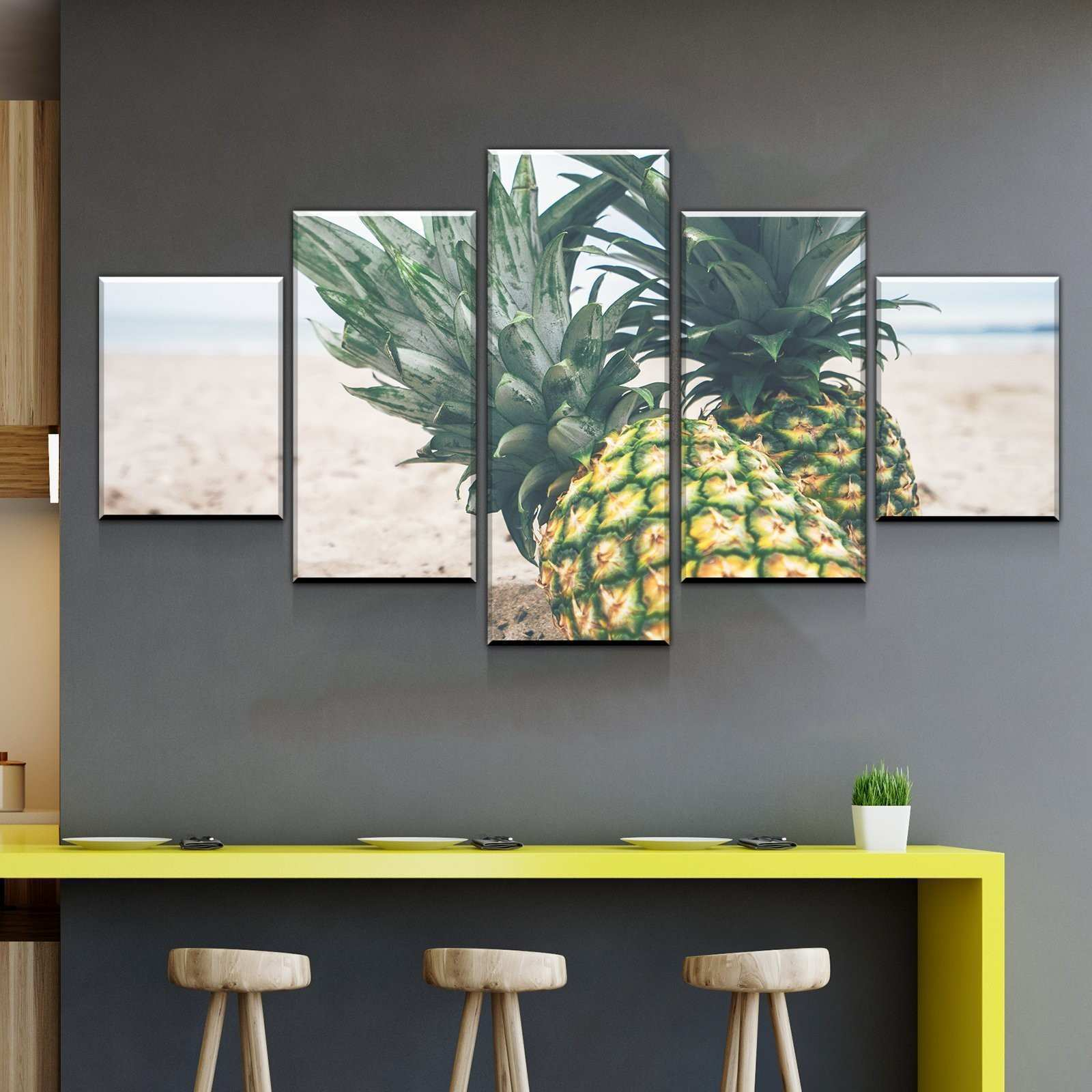 Pineapples in the Beach Kitchen and Dining Room Wall Decor Canvas