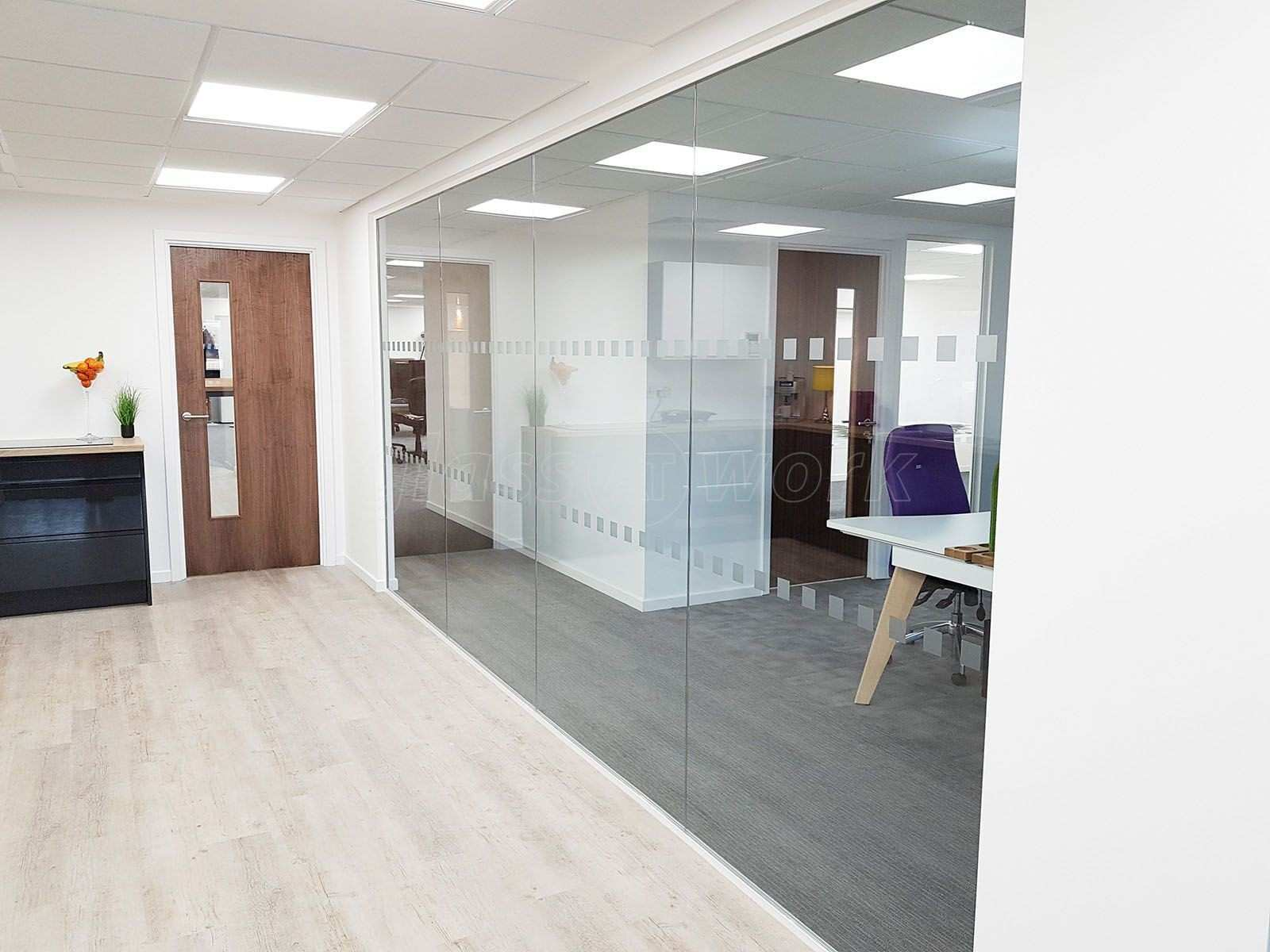 From Glass At Work Glass fice Walls Using Toughened Glass