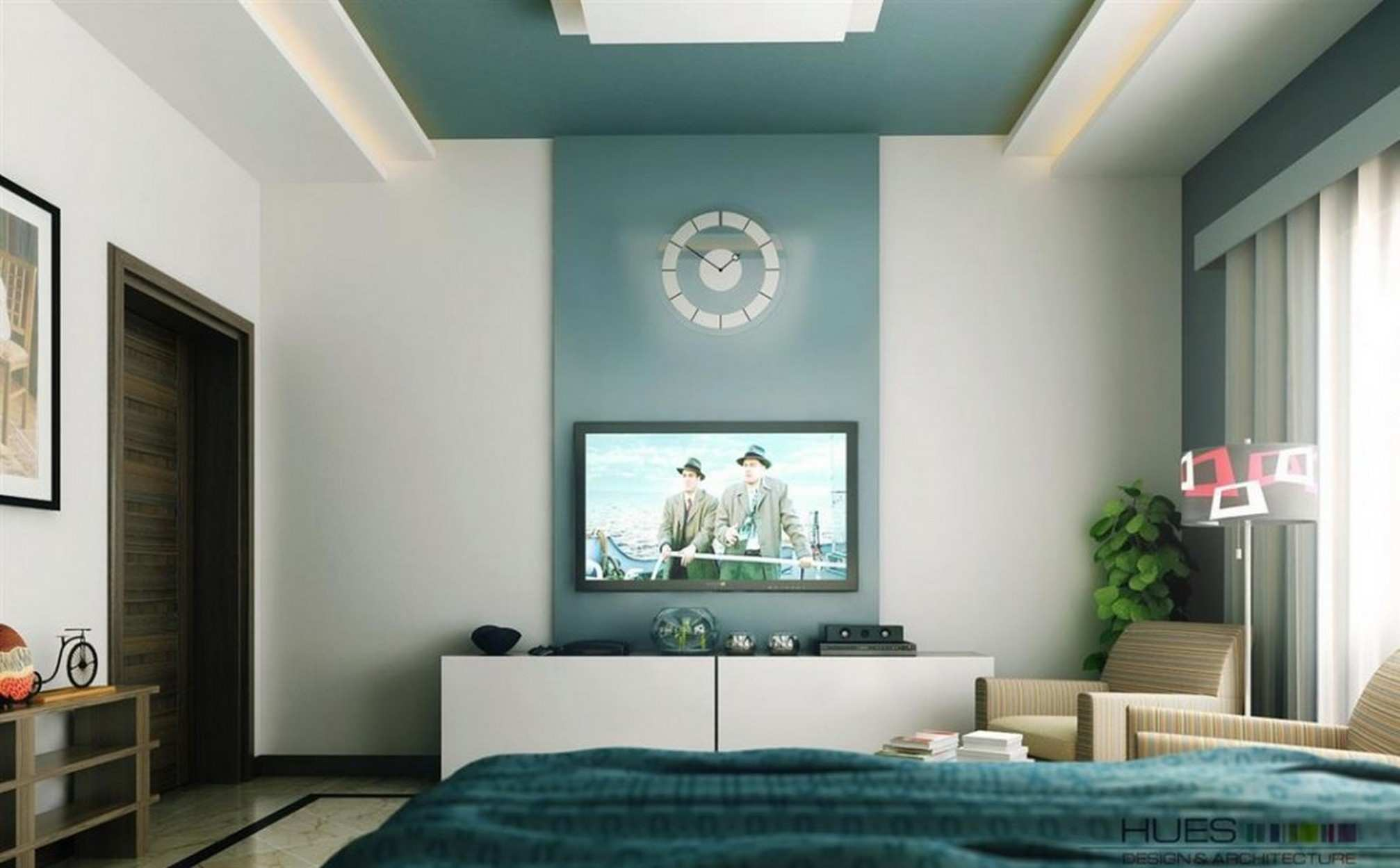 Accent Wall Color For High Walls With Round Wall Clock Ideas And TV