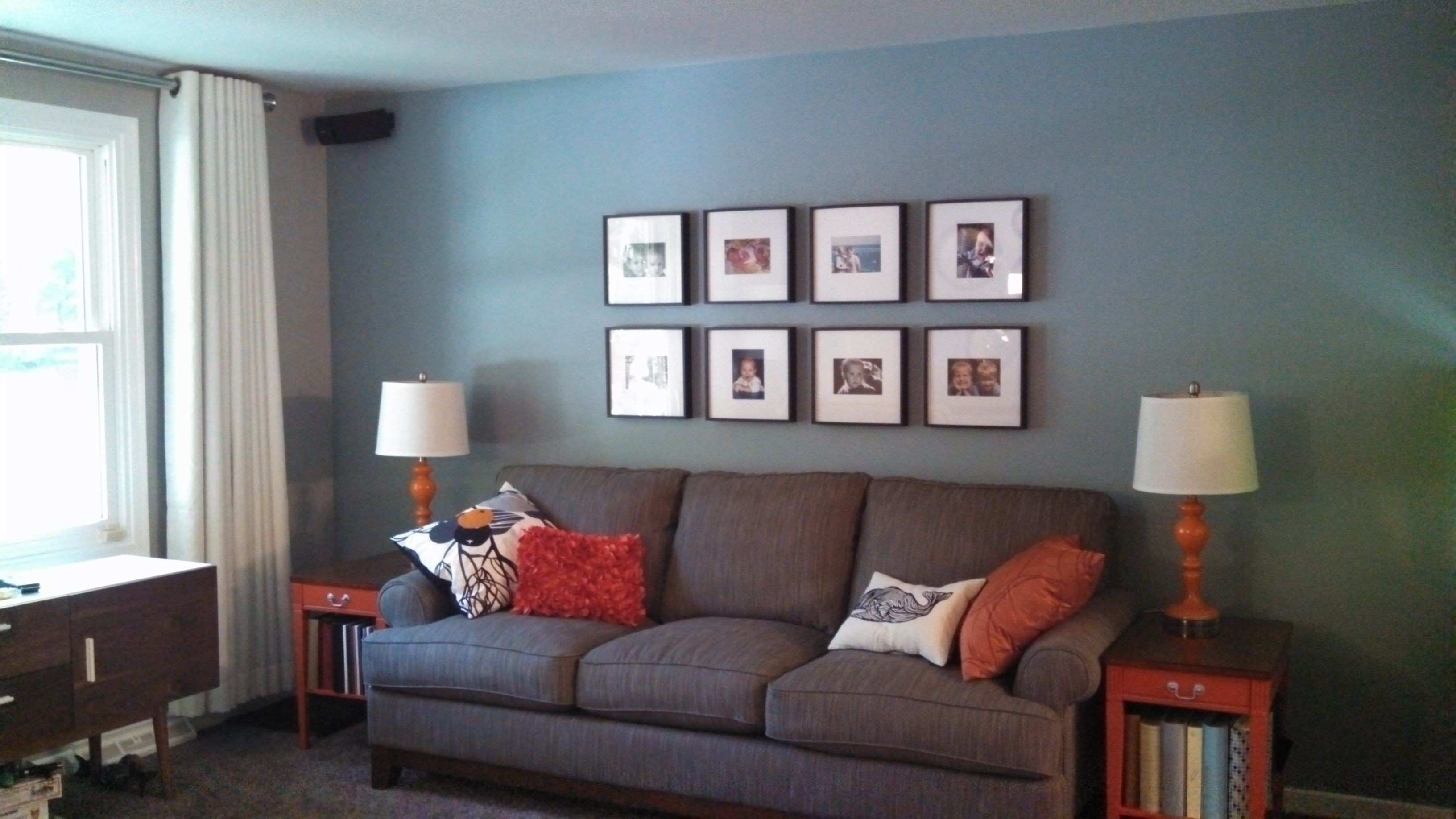 Living Room Accent Wall with Brown Furniture New Benjamin Moore