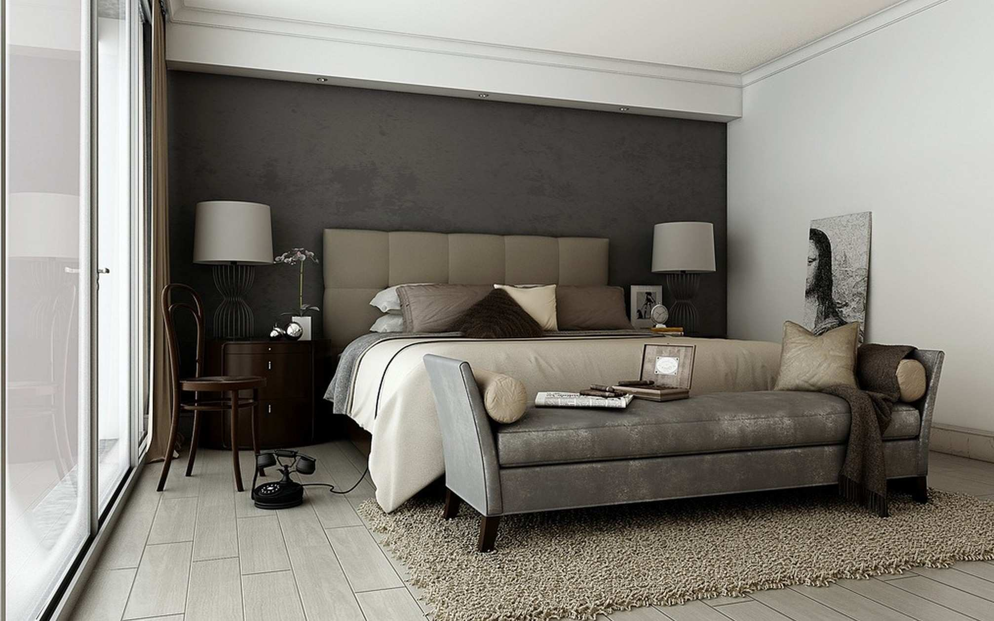 accent wall bedroom Master Bedroom Accent Wall Bedroom With Grey