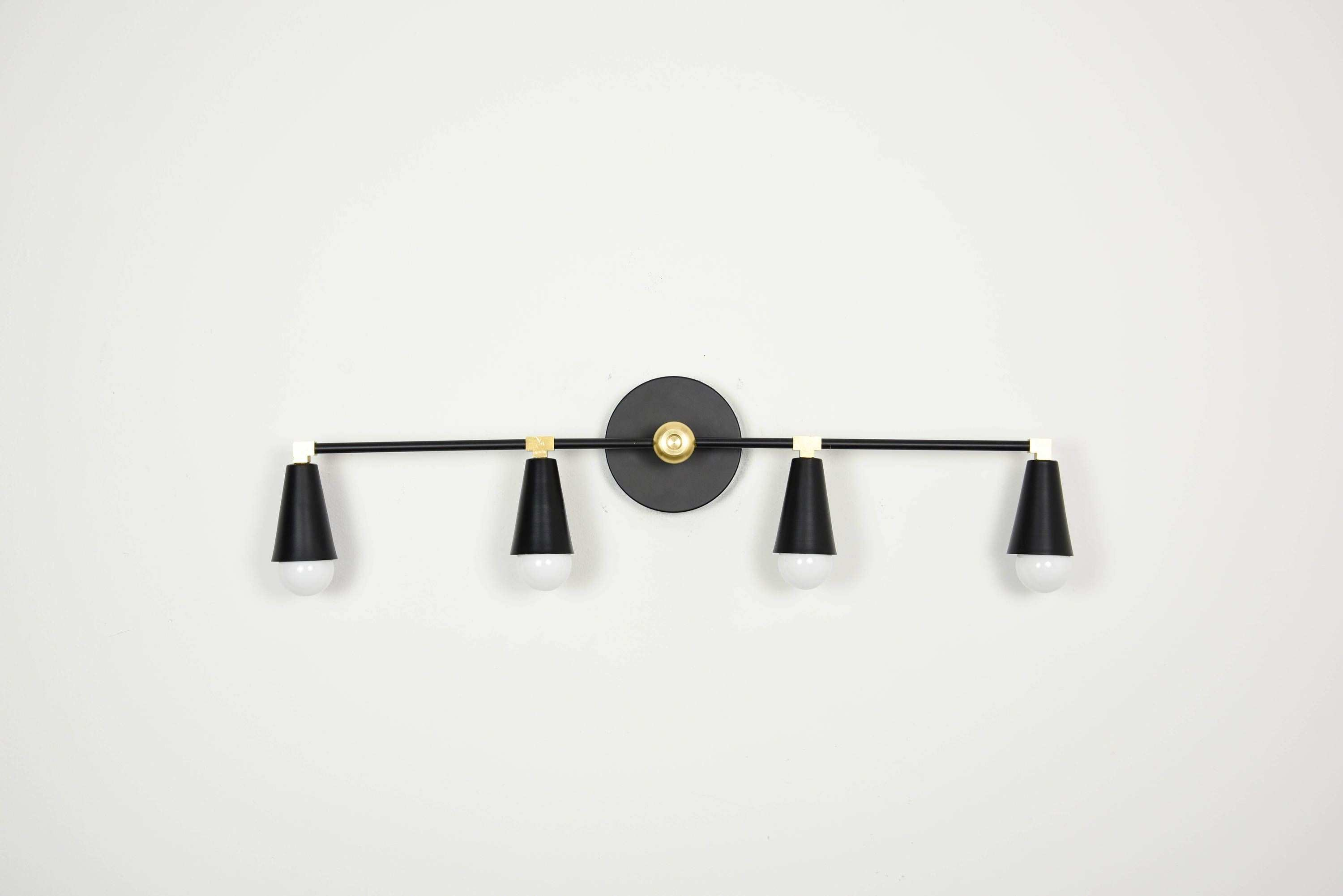 Wall Sconce Vanity 4 Light Wall Sconce Black and Brass Gold 4 Bulb