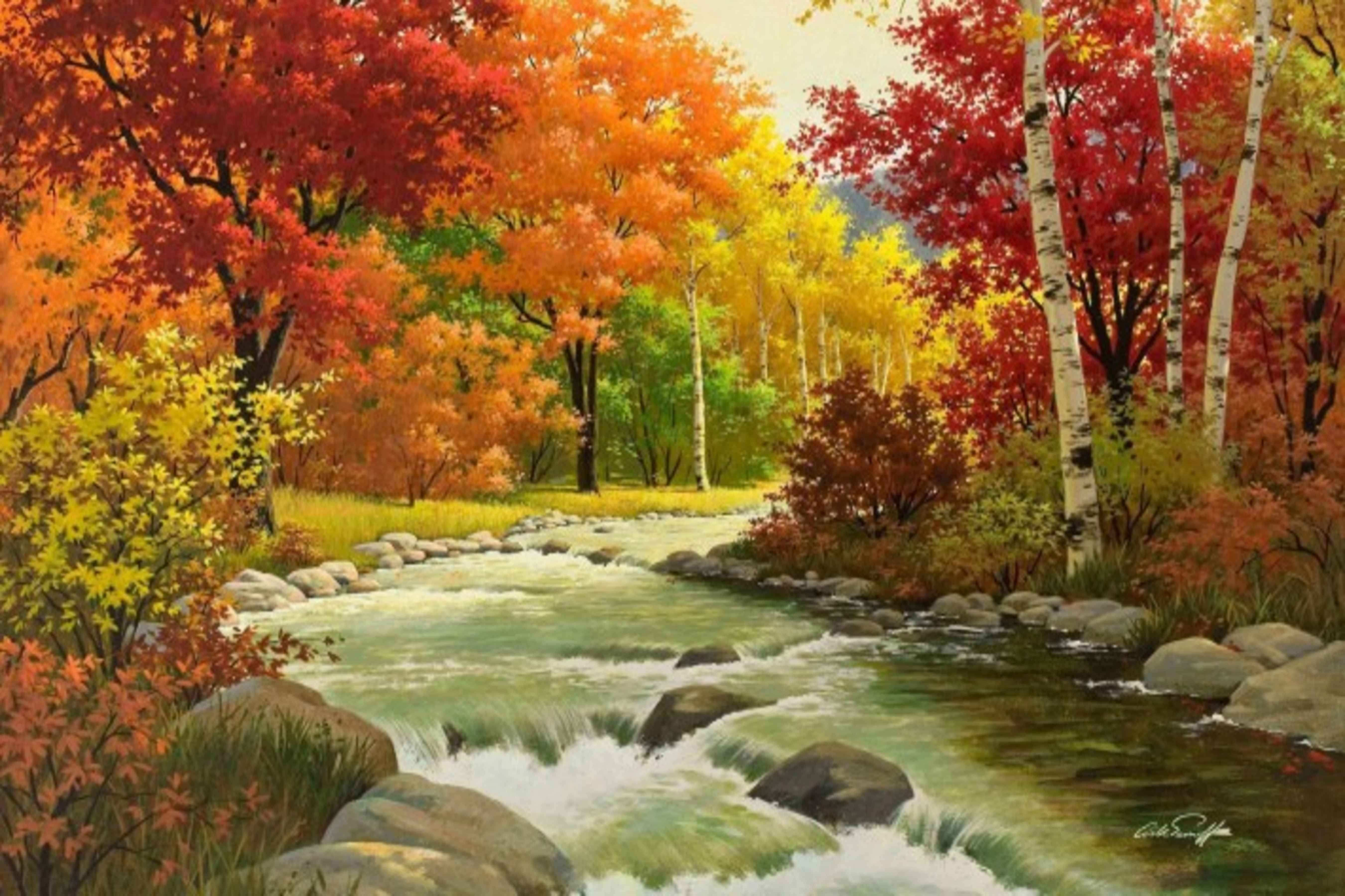 Avikalp Flowing River Nature Fall Scenery Paper Wall Poster Without